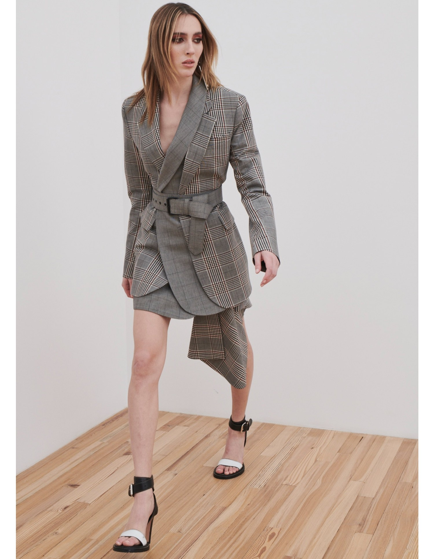MONSE Plaid Cascade Suiting Mini Skirt on Model Walking