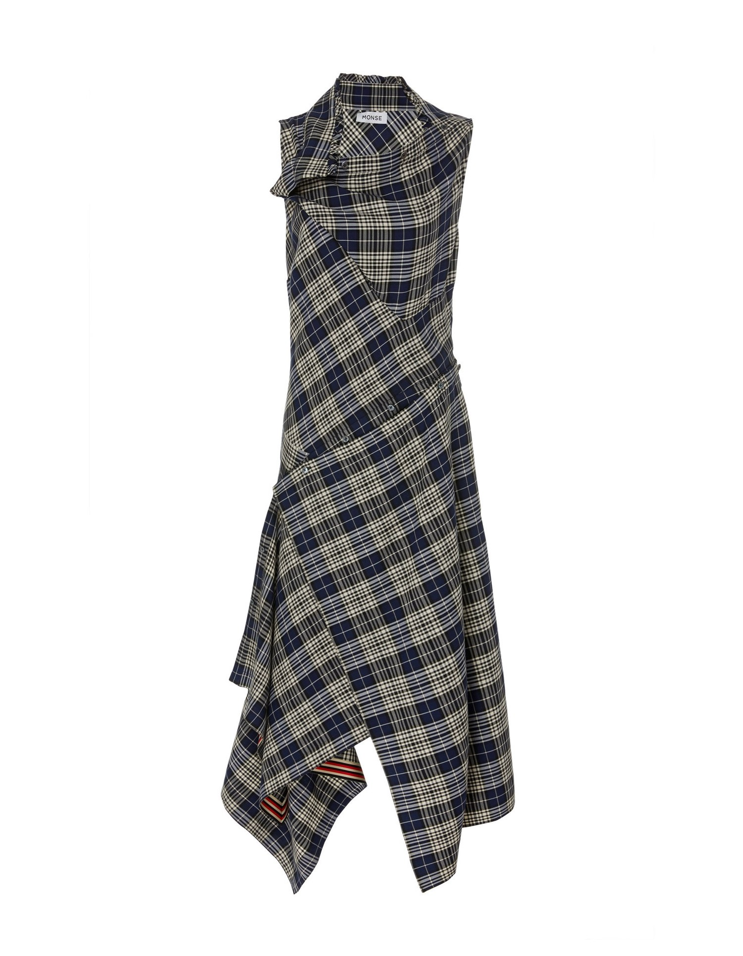 MONSE Plaid Cowl Neck Shirt Dress Flat