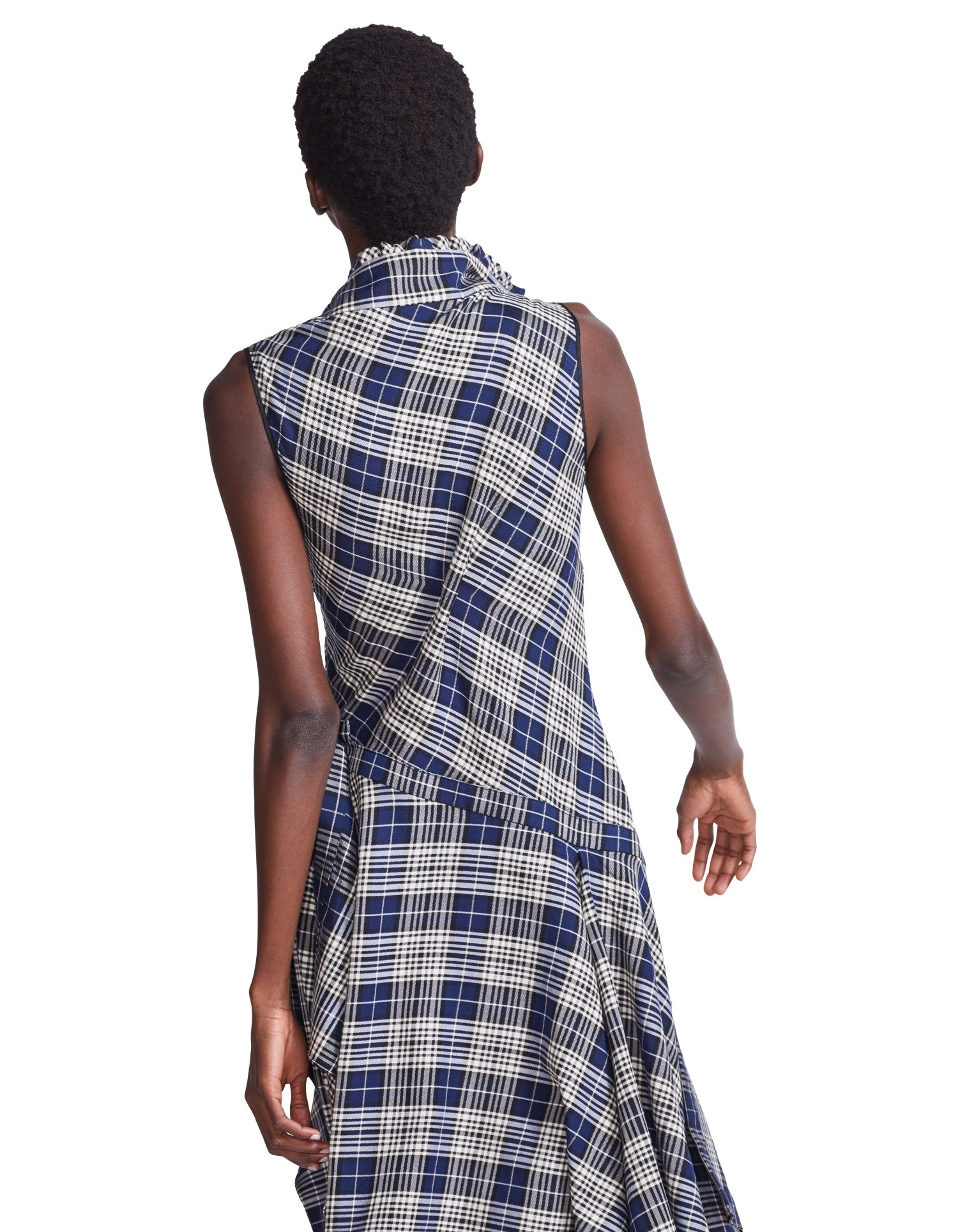 MONSE Plaid Cowl Neck Shirt Dress on Model Back View