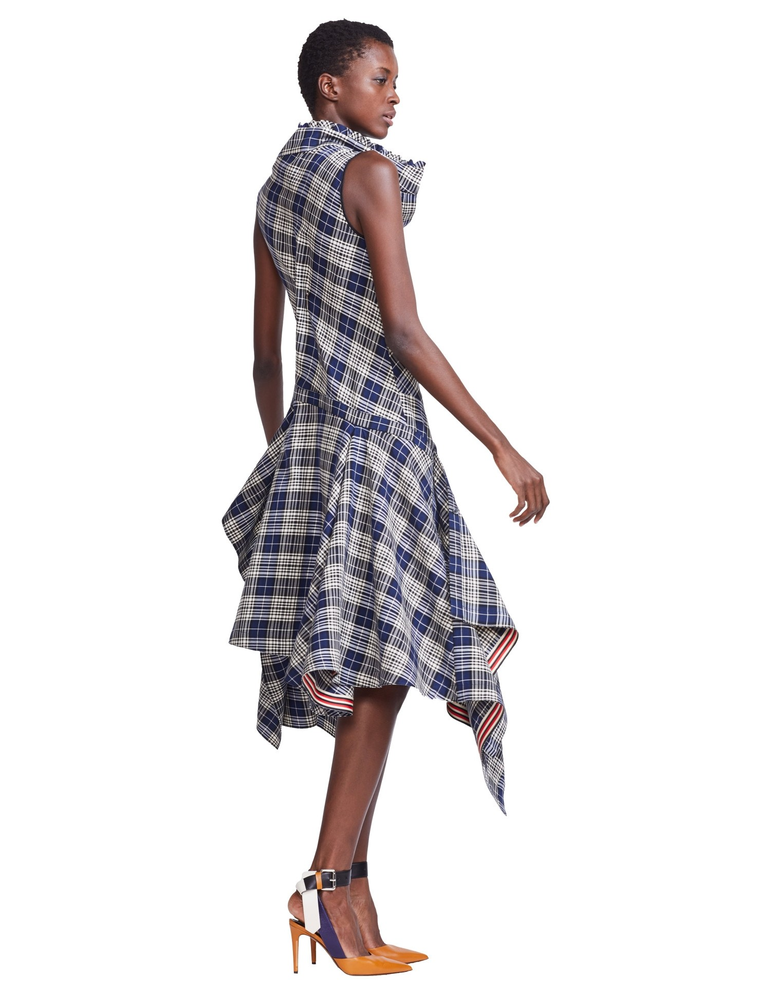 MONSE Plaid Cowl Neck Shirt Dress on Model Side View