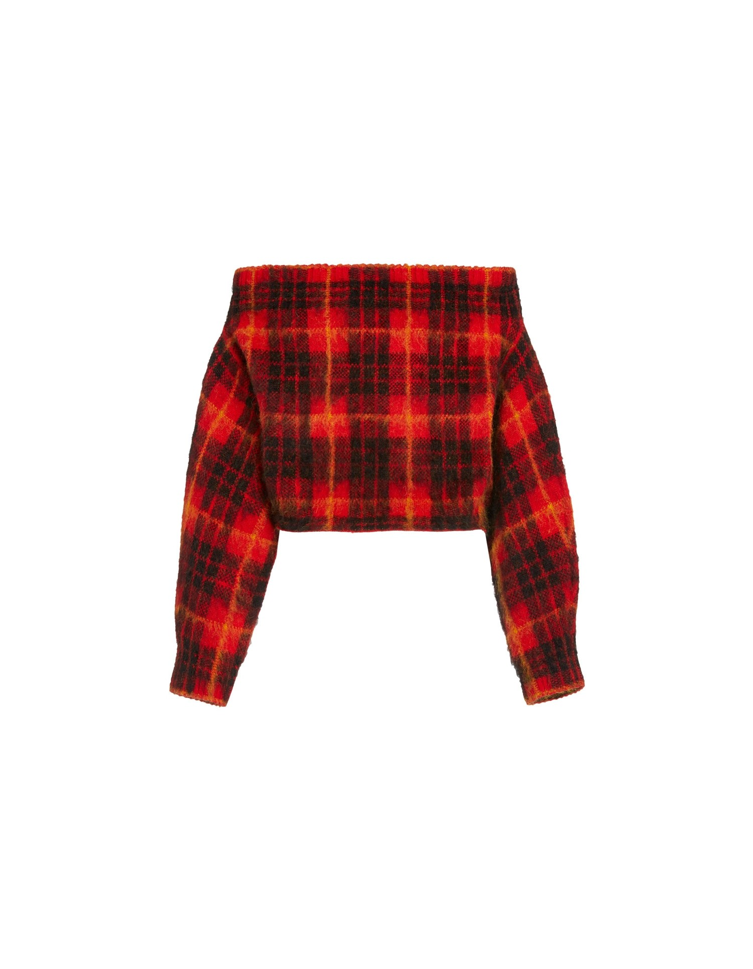 MONSE Plaid Off the Shoulder Mohair Sweater in Scarlet Plaid Multi Flat Back