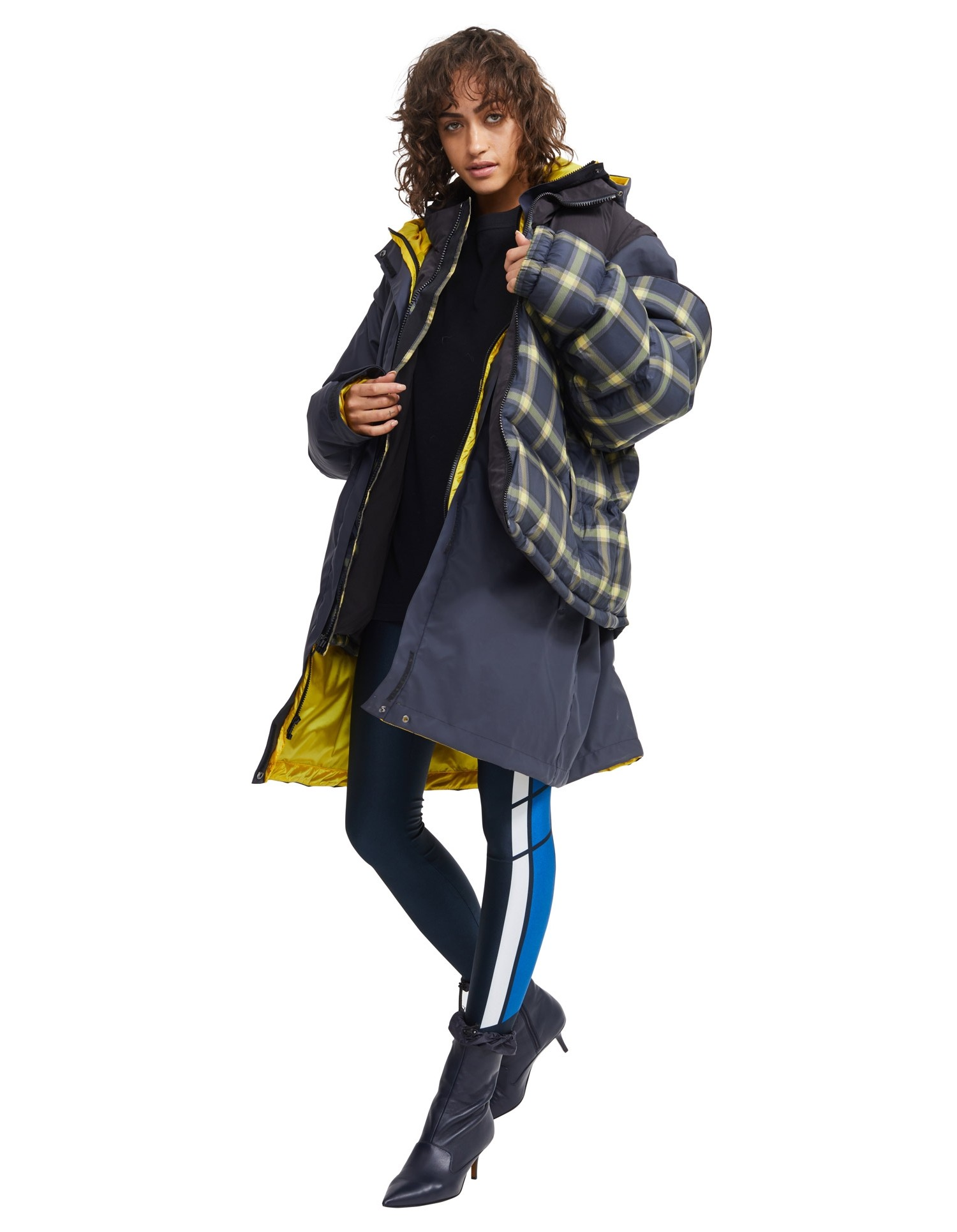 MONSE Plaid Puffer on Model Side View