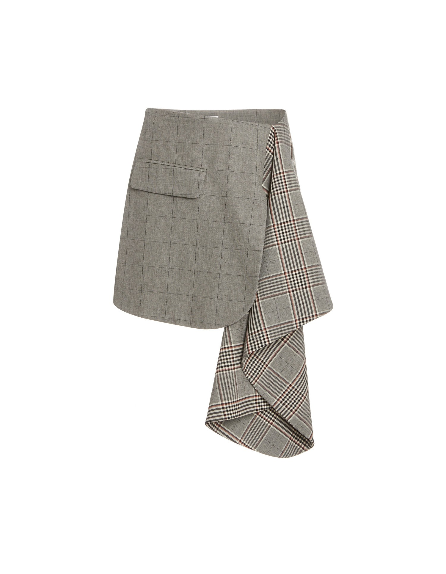 MONSE Plaid Suiting Skirt Flat Front
