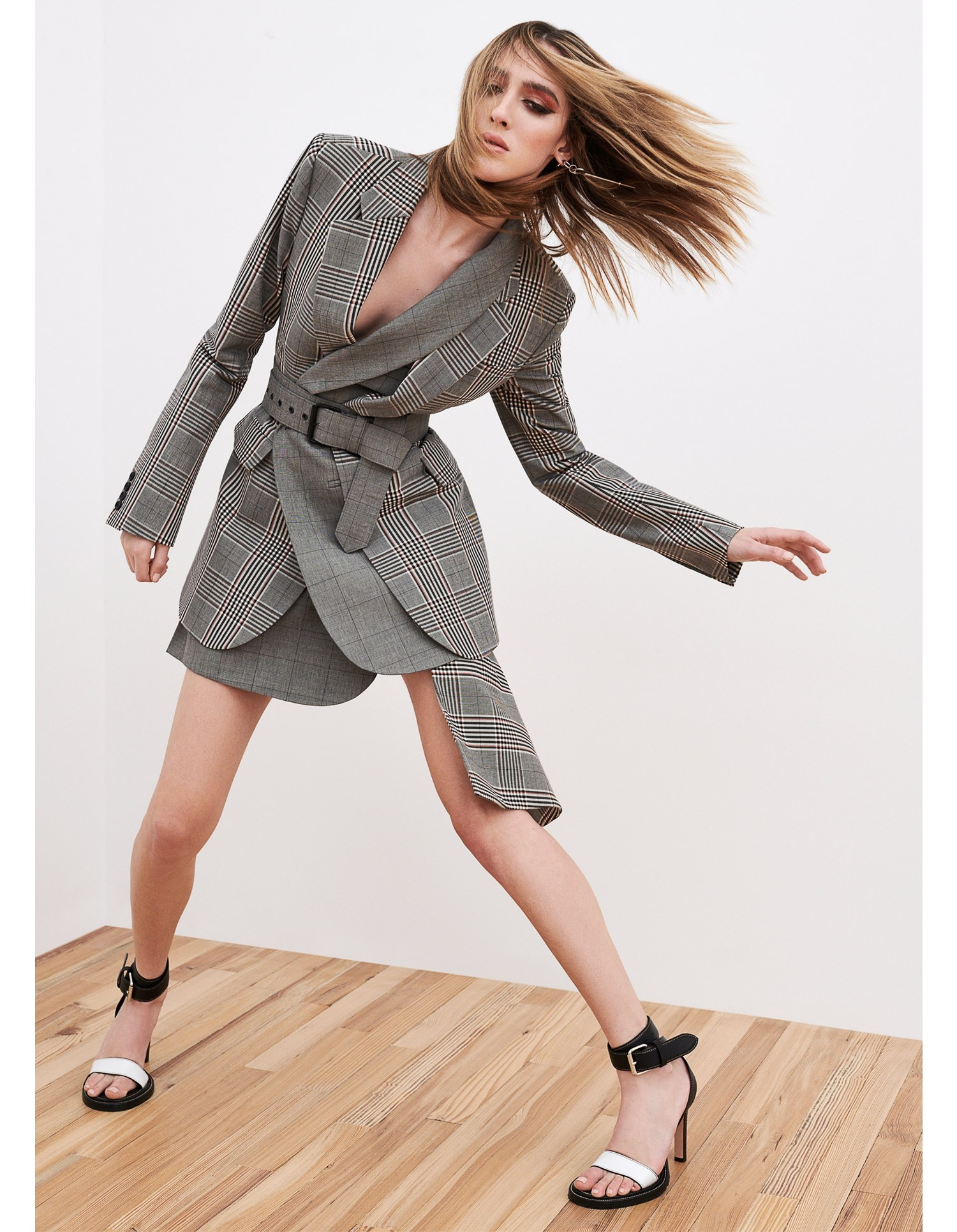 MONSE Plaid Suiting Skirt Model View