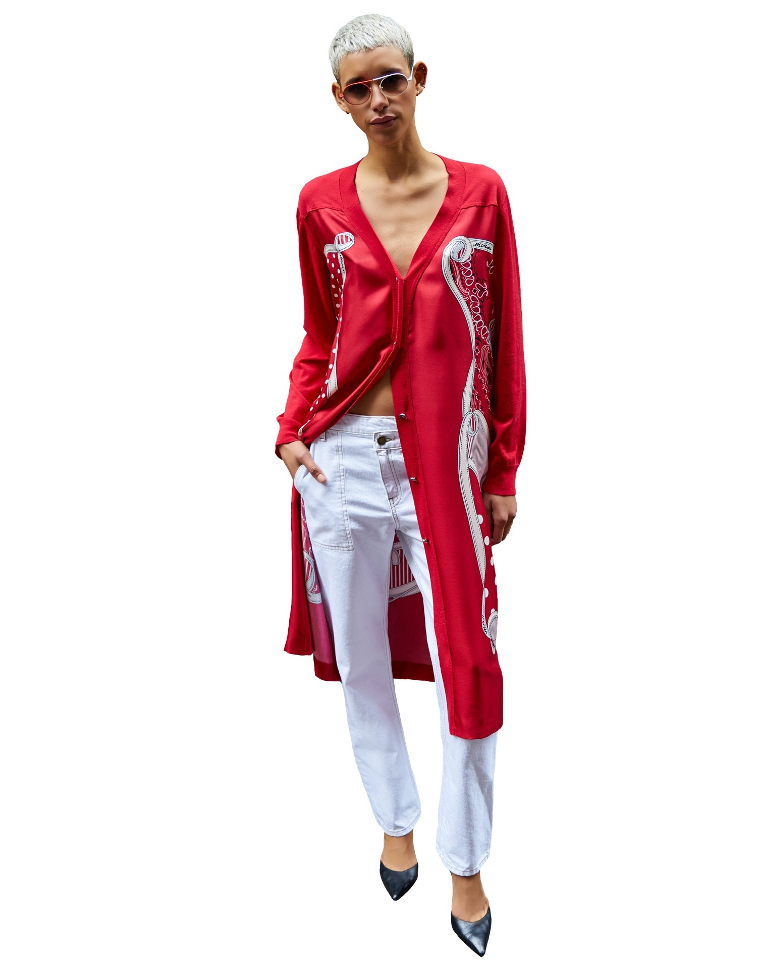 MONSE Pluto Bandana Cardigan in Red on Model Full Front