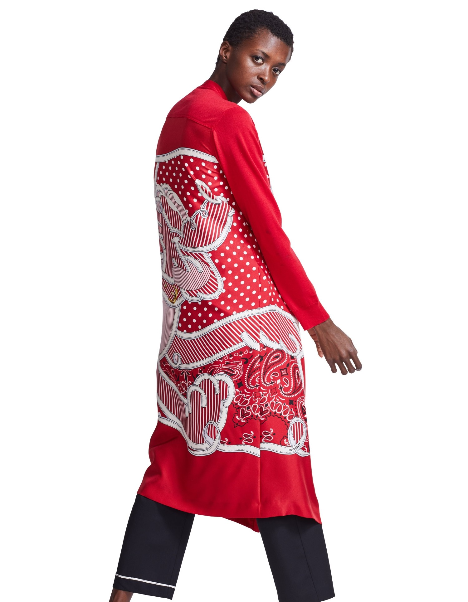MONSE Pluto Bandana Cardigan in Red on Model Side