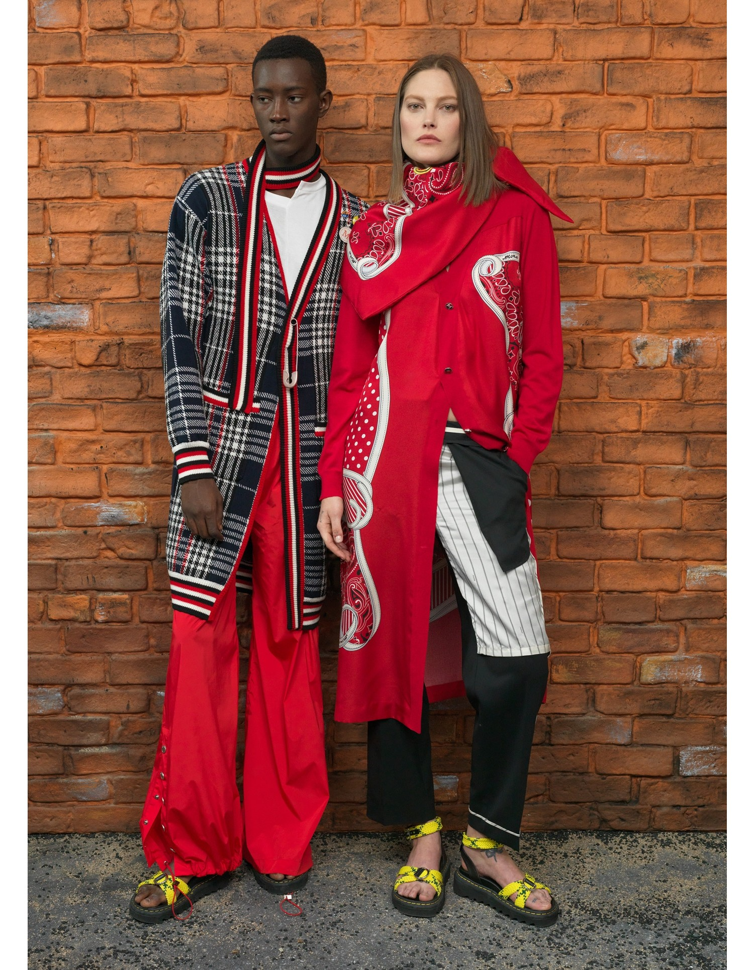 MONSE Pluto Bandana Cardigan in Red on Model Street Look