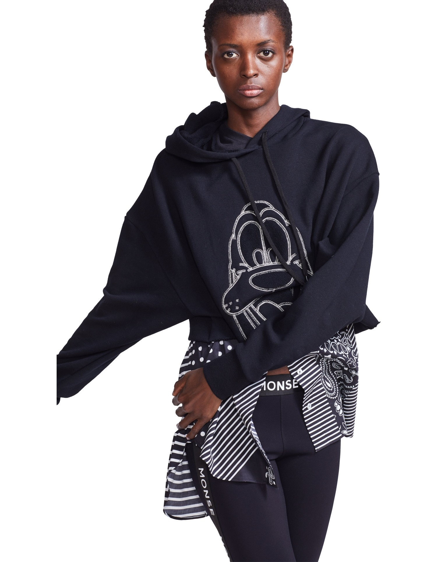 MONSE Pluto Cropped Hoodie in Black on Model Front Detail