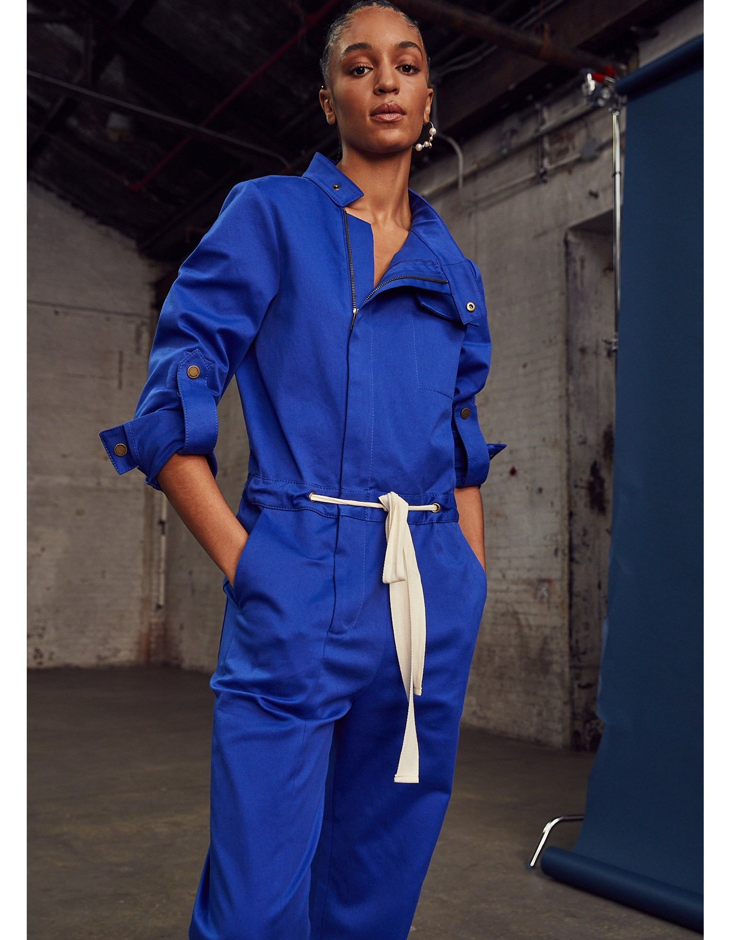 MONSE Racer Jumpsuit in Electric Blue on Model Front Detail View