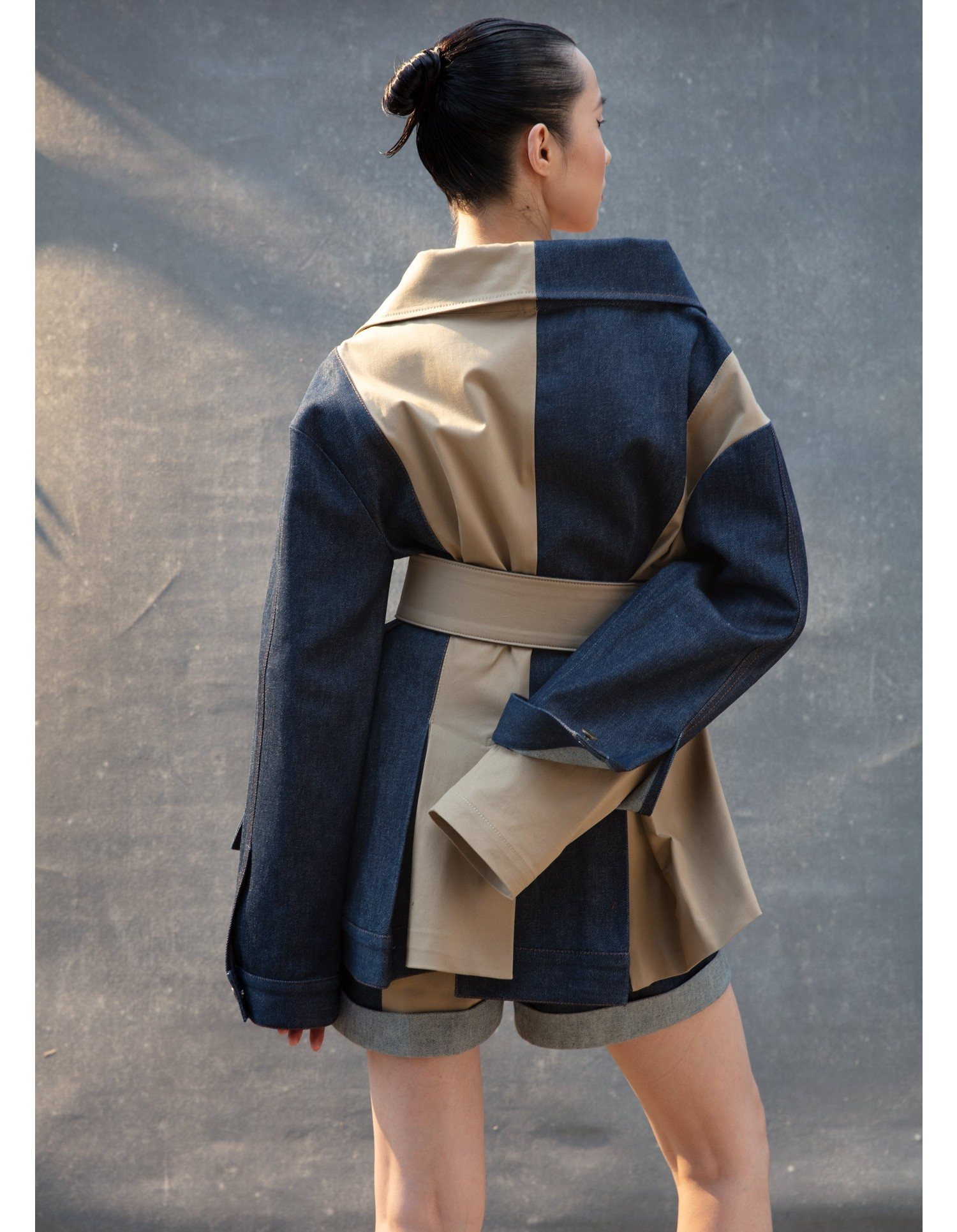 MONSE Belted Trench and Denim Jacket on Model Back View