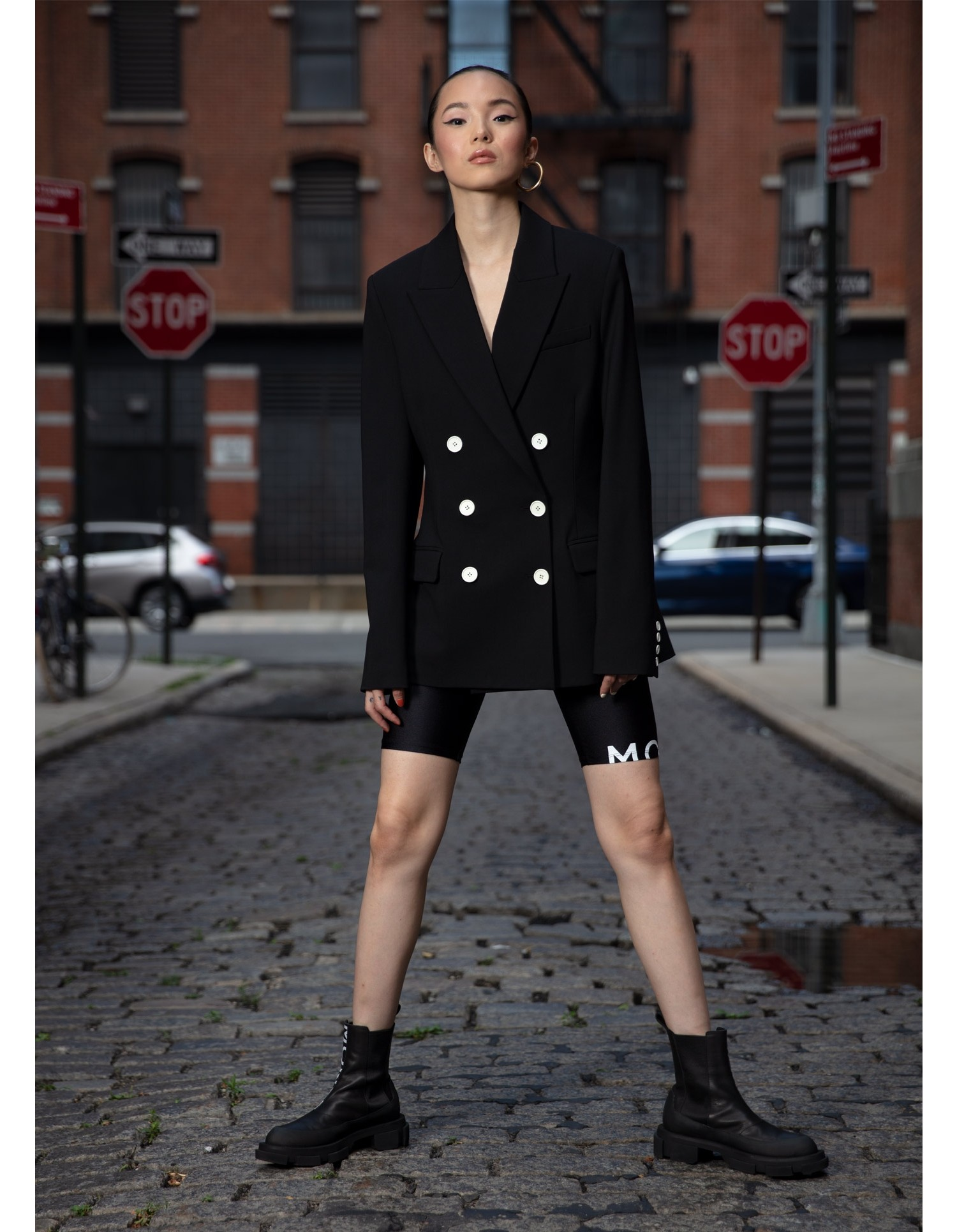 MONSE Cape Blazer in Black on Model Front View