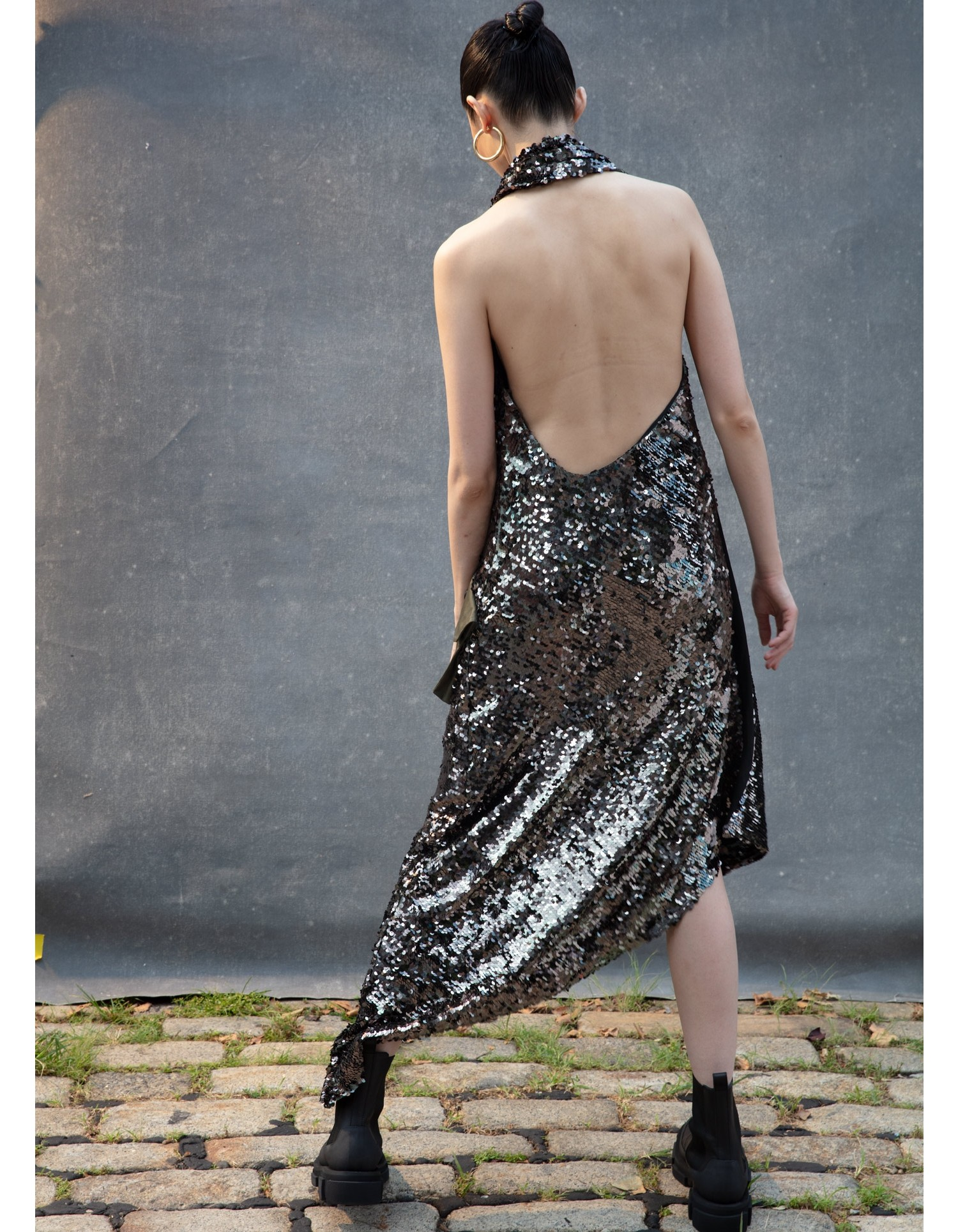 MONSE Cargo Sequin Gown in Olive on Model Back View