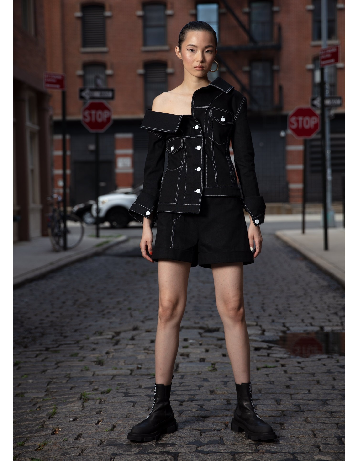 MONSE Crooked Denim Jacket in Black on Model Front View