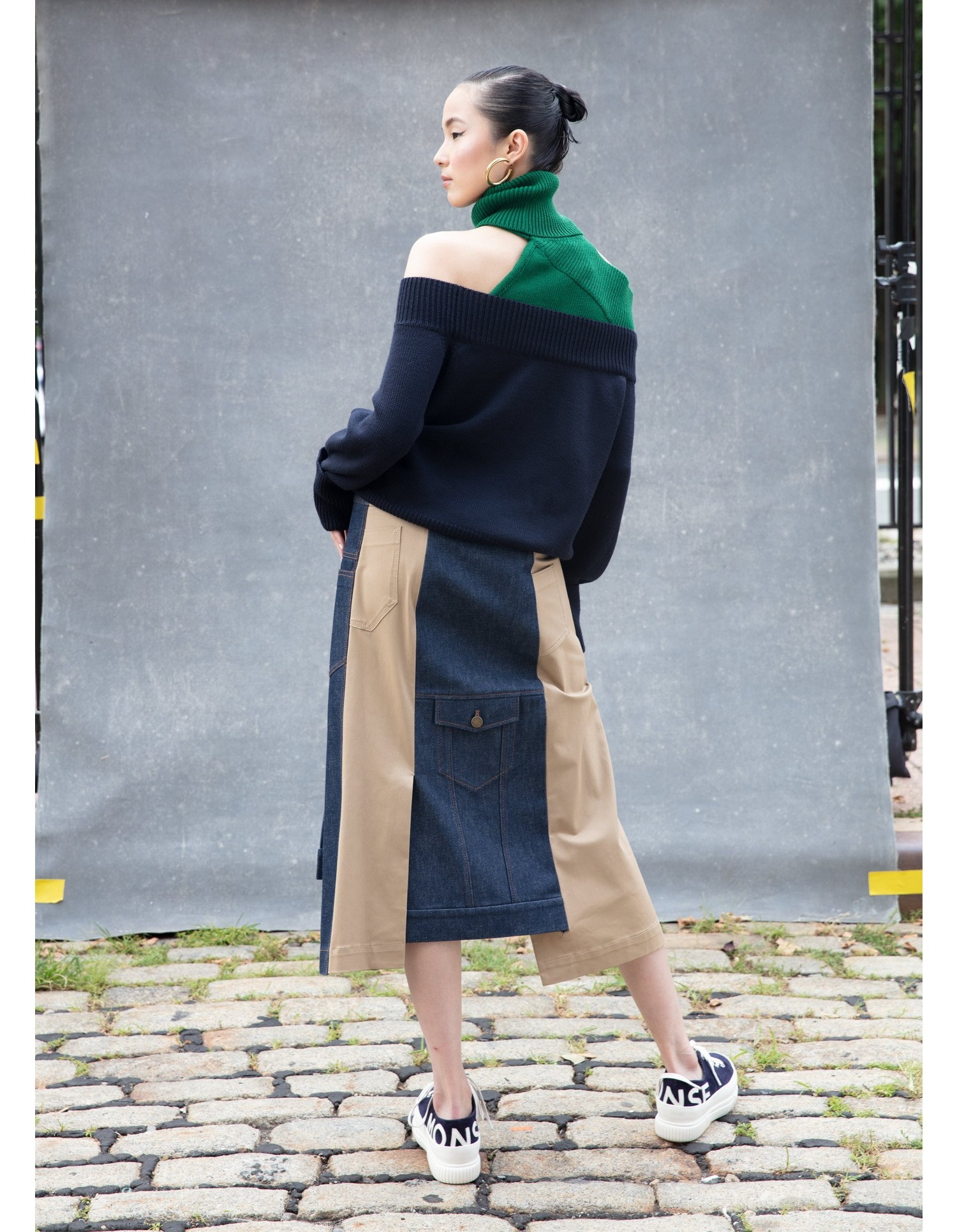 MONSE Crooked Denim and Twill Skirt on Model Back View