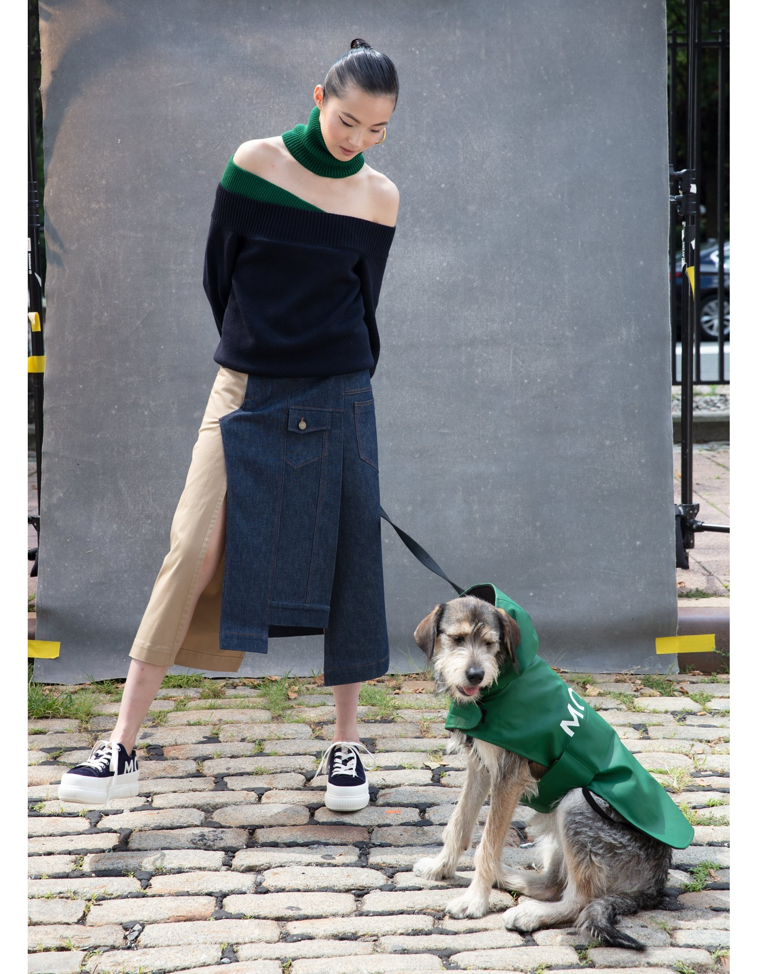 MONSE Crooked Denim and Twill Skirt on Model Front View