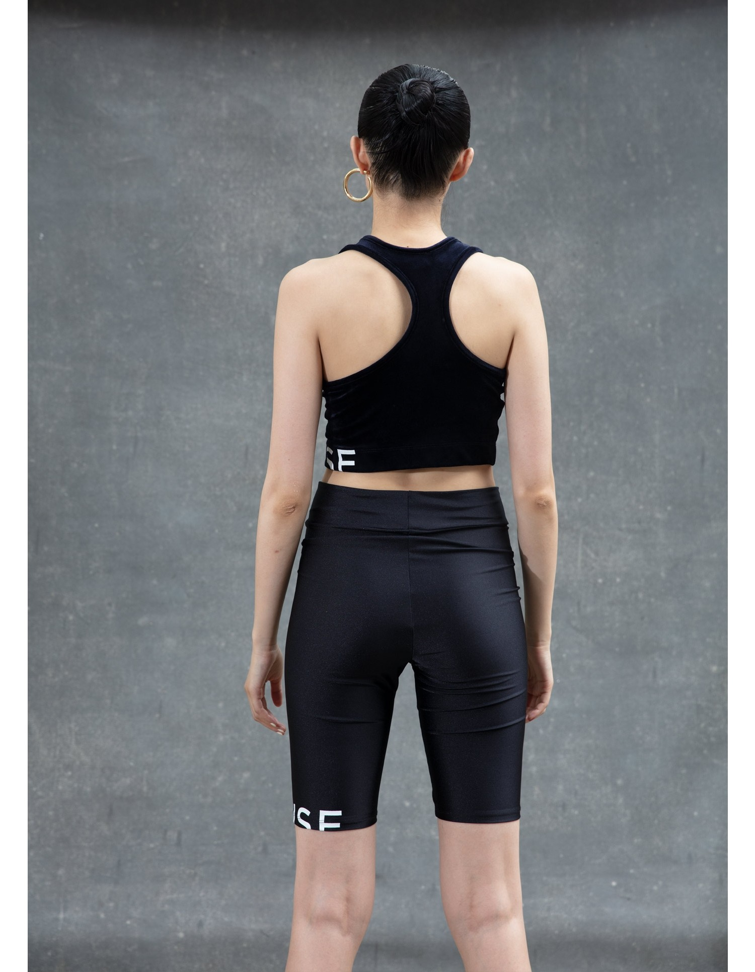 MONSE Crooked Racerback Crop Top in Midnight on Model Back View