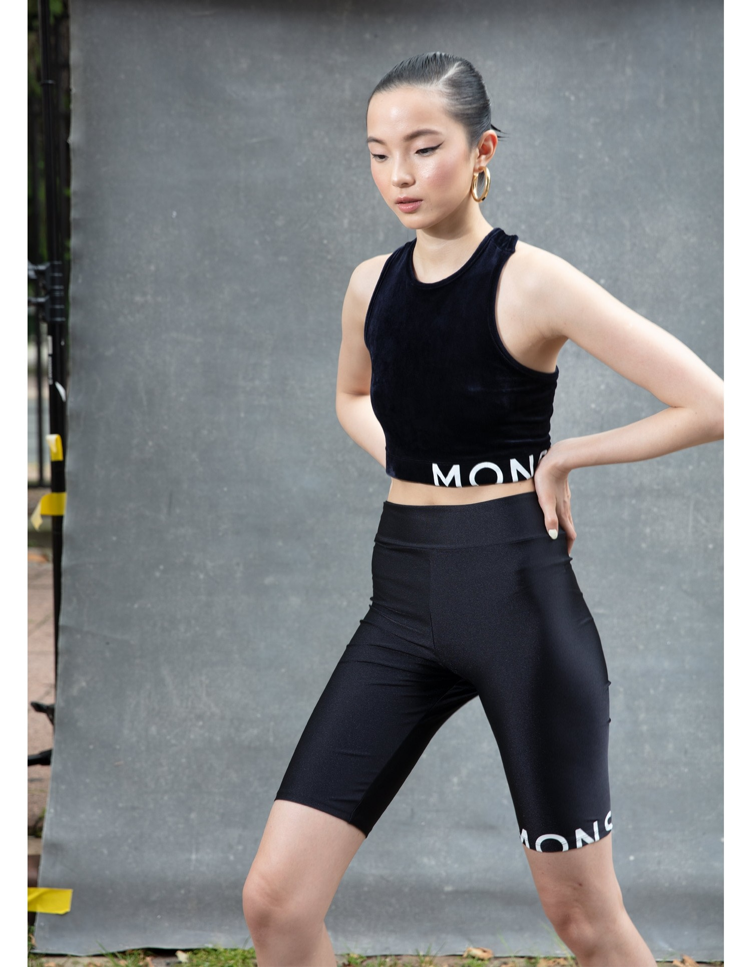 MONSE Crooked Racerback Crop Top in Midnight on Model Front View