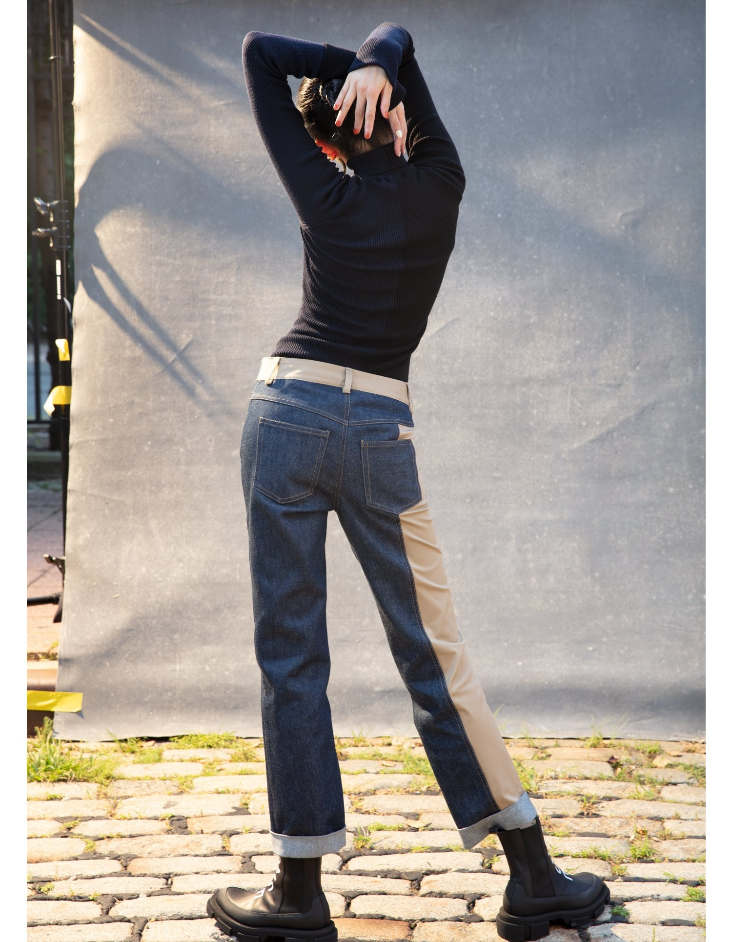 MONSE Denim and Trouser Pant on Model Back View