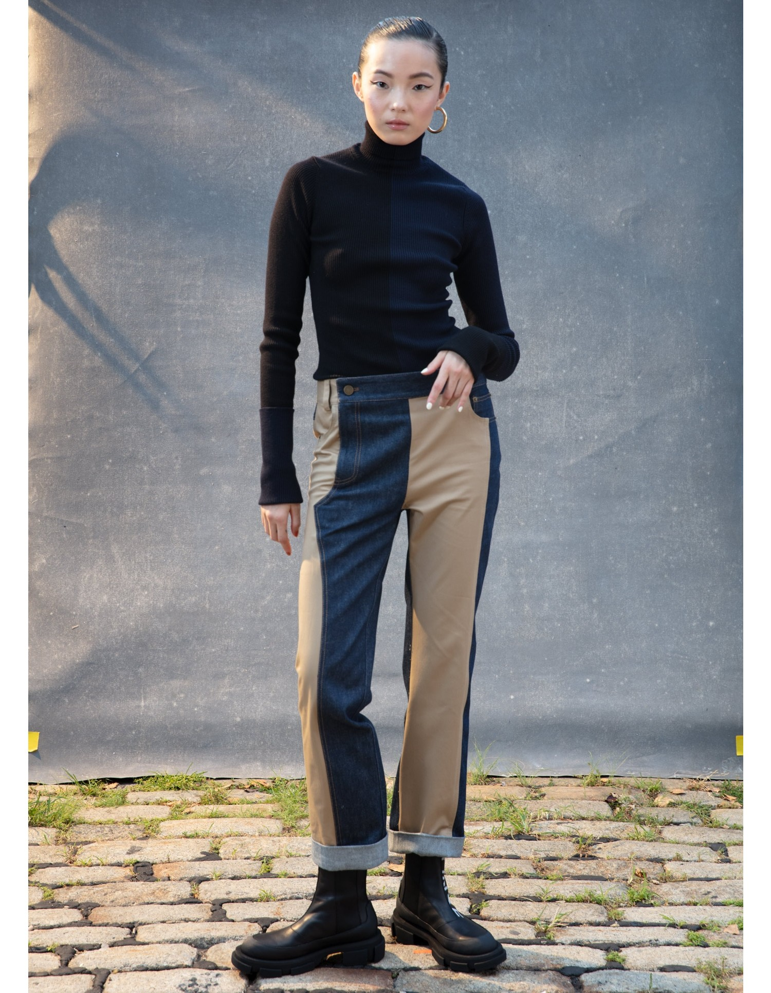 MONSE Denim and Trouser Pant on Model Front View