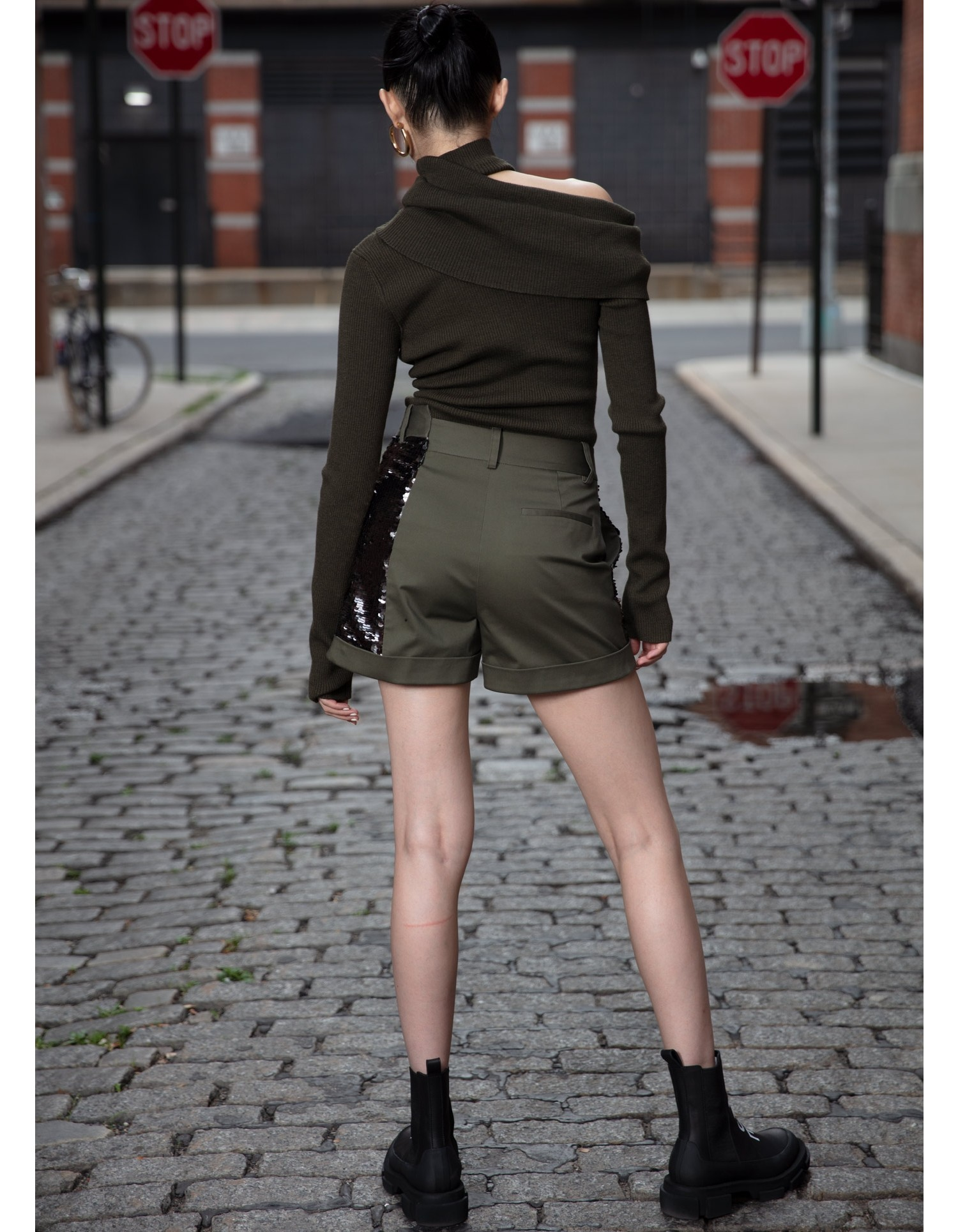 MONSE Foldover Draped Knit in Olive on Model Back View