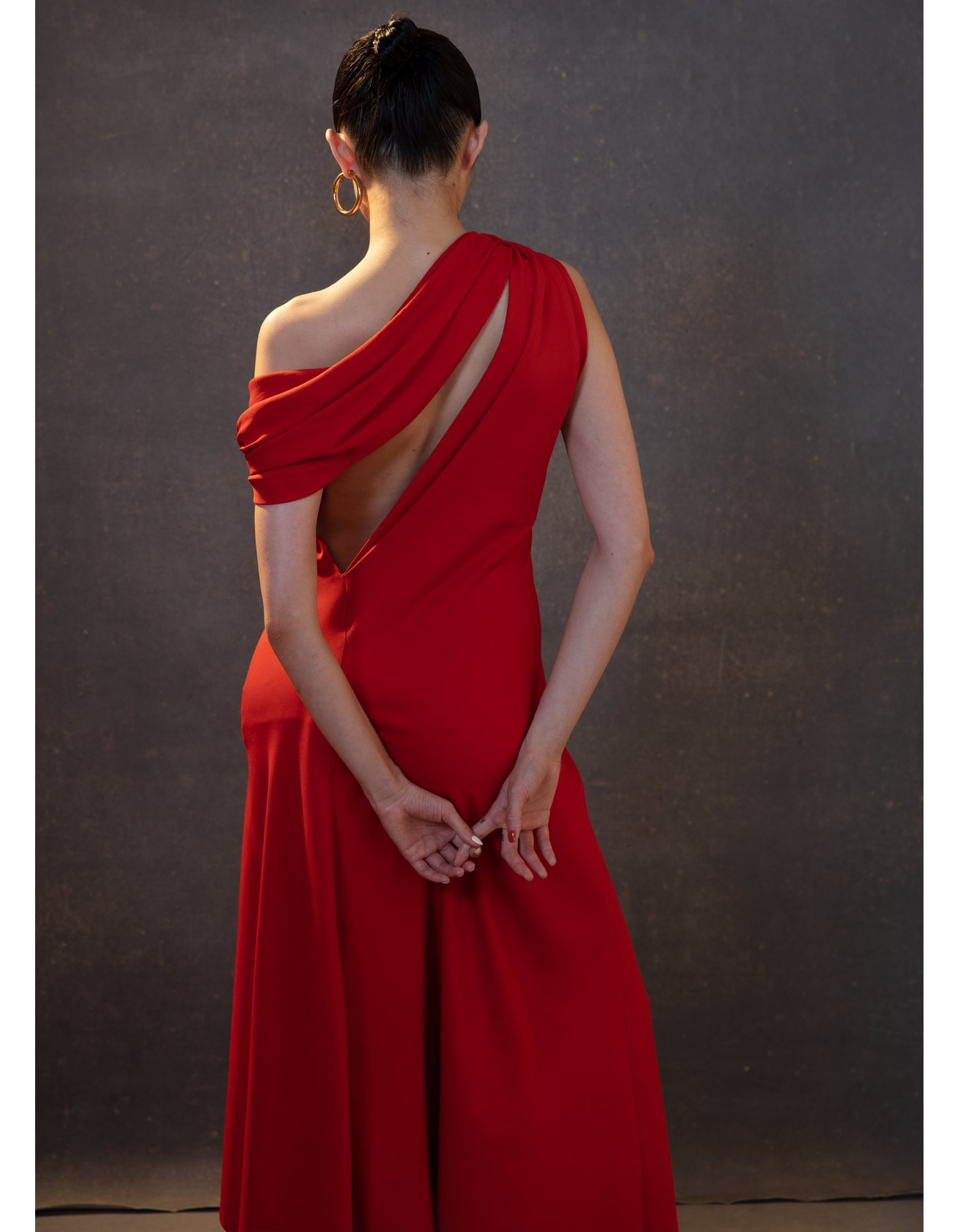 MONSE Knotted Shoulder Drape Dress in Sienna on Model Detail View