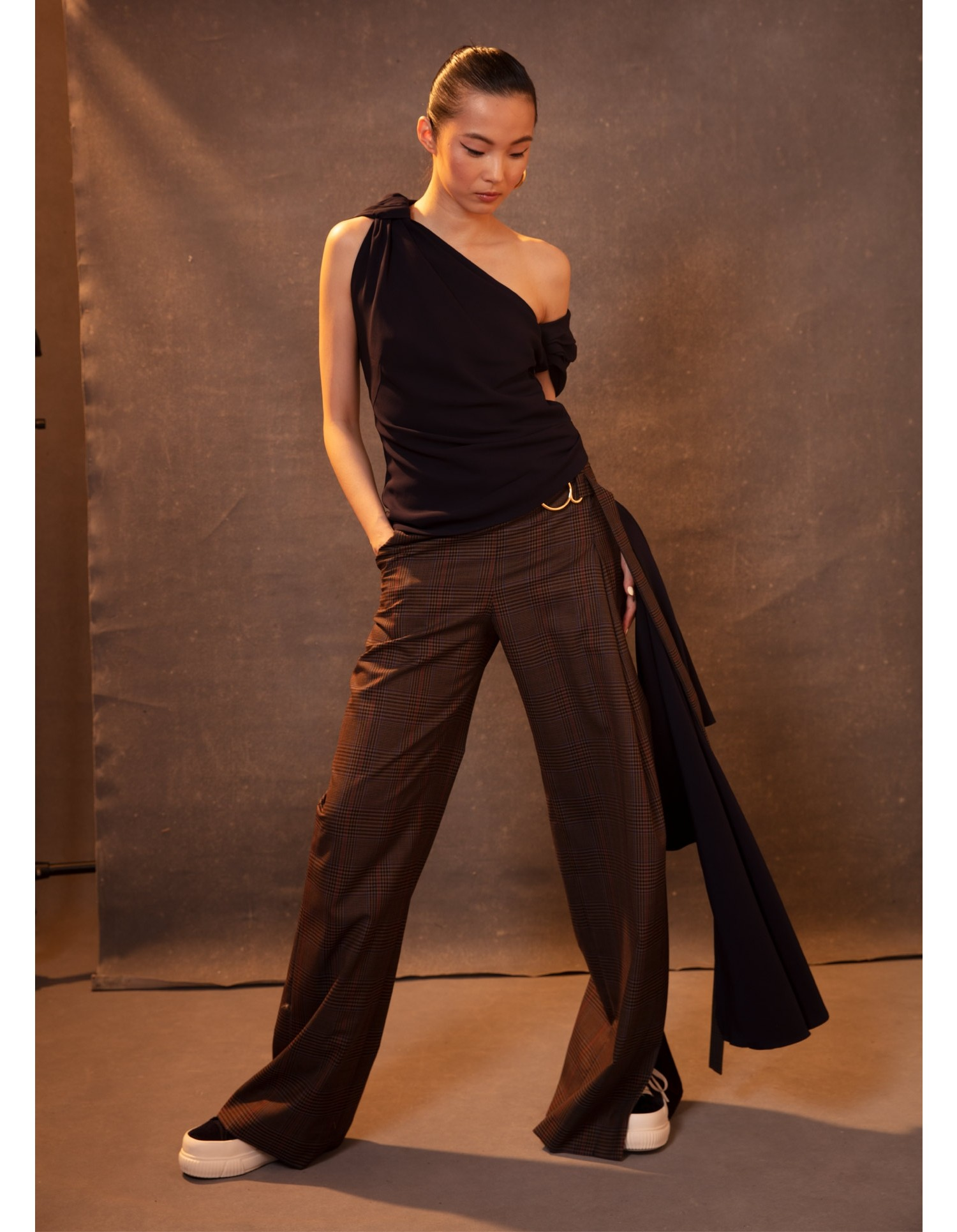 MONSE Knotted Shoulder Drape Top in Midnight on Model Front View