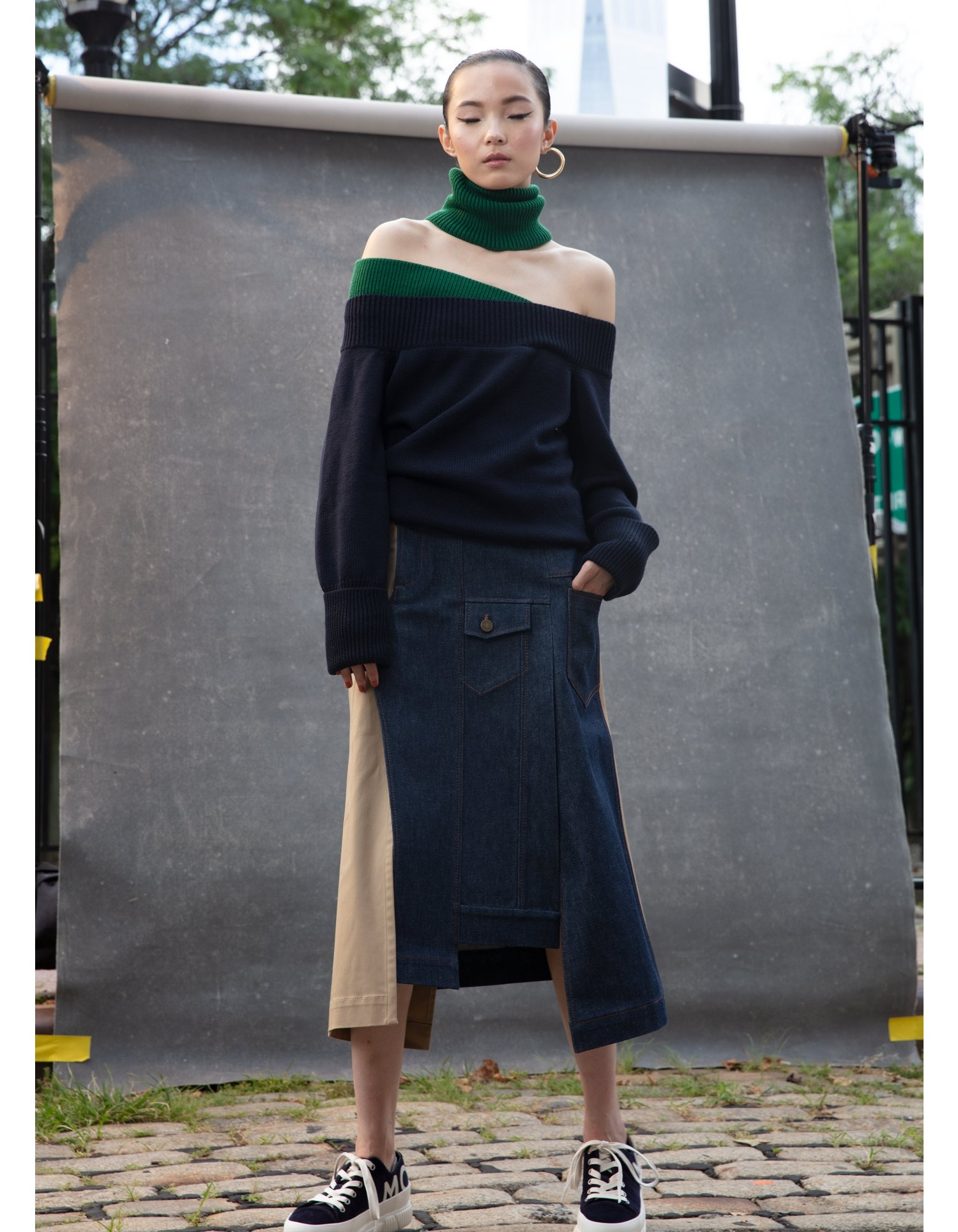 MONSE Off the Shoulder Turtleneck Sweater on Model Front View