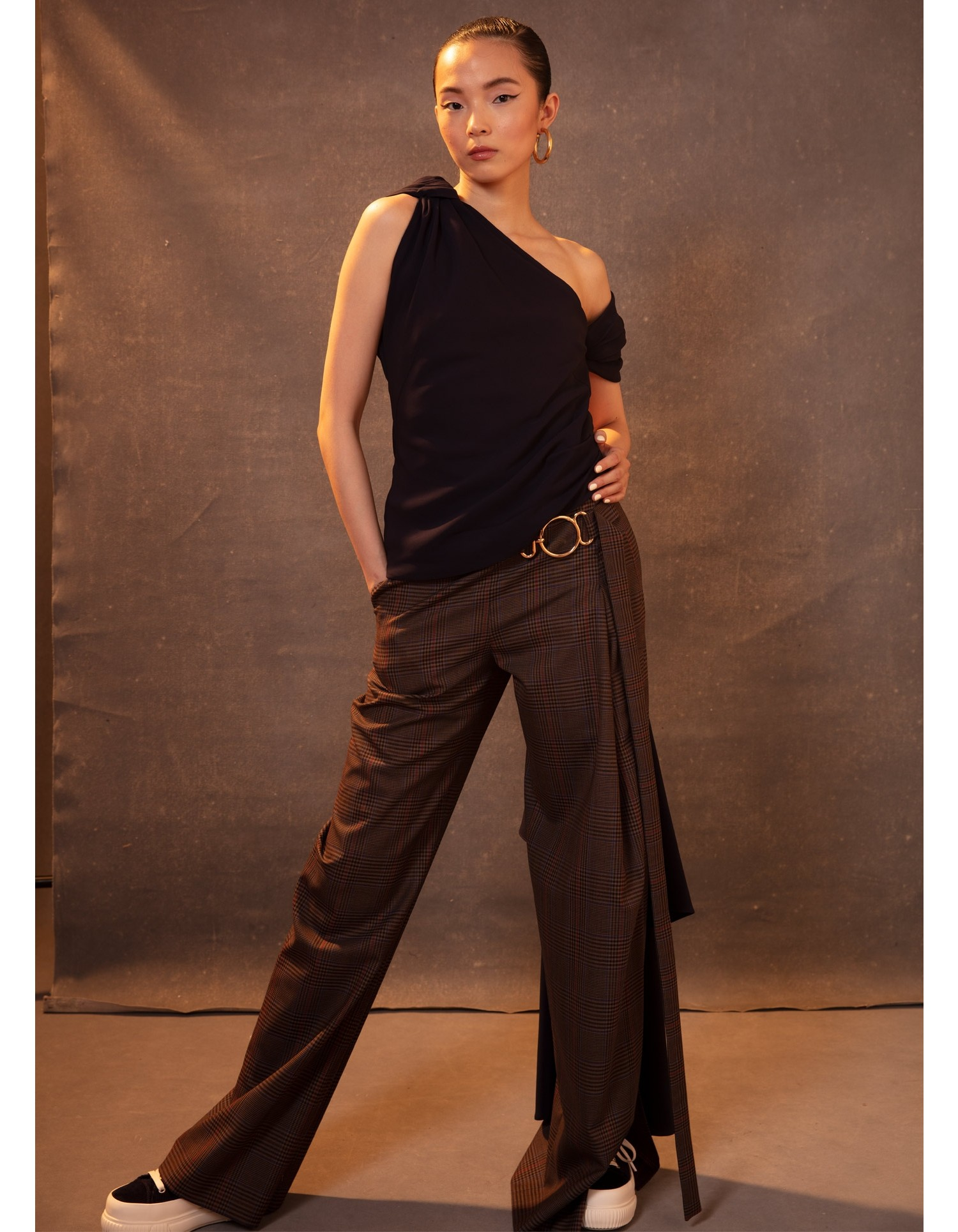 MONSE Plaid Vented Wide Leg Pant in Tan Multi on Model Front View