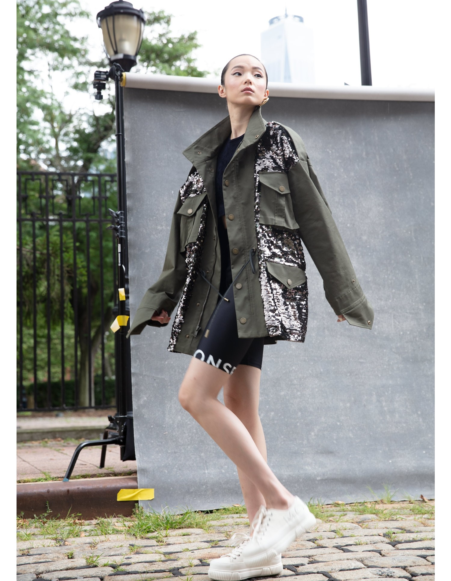 MONSE Sequined Field Jacket in Olive and Taupe on Model Side View