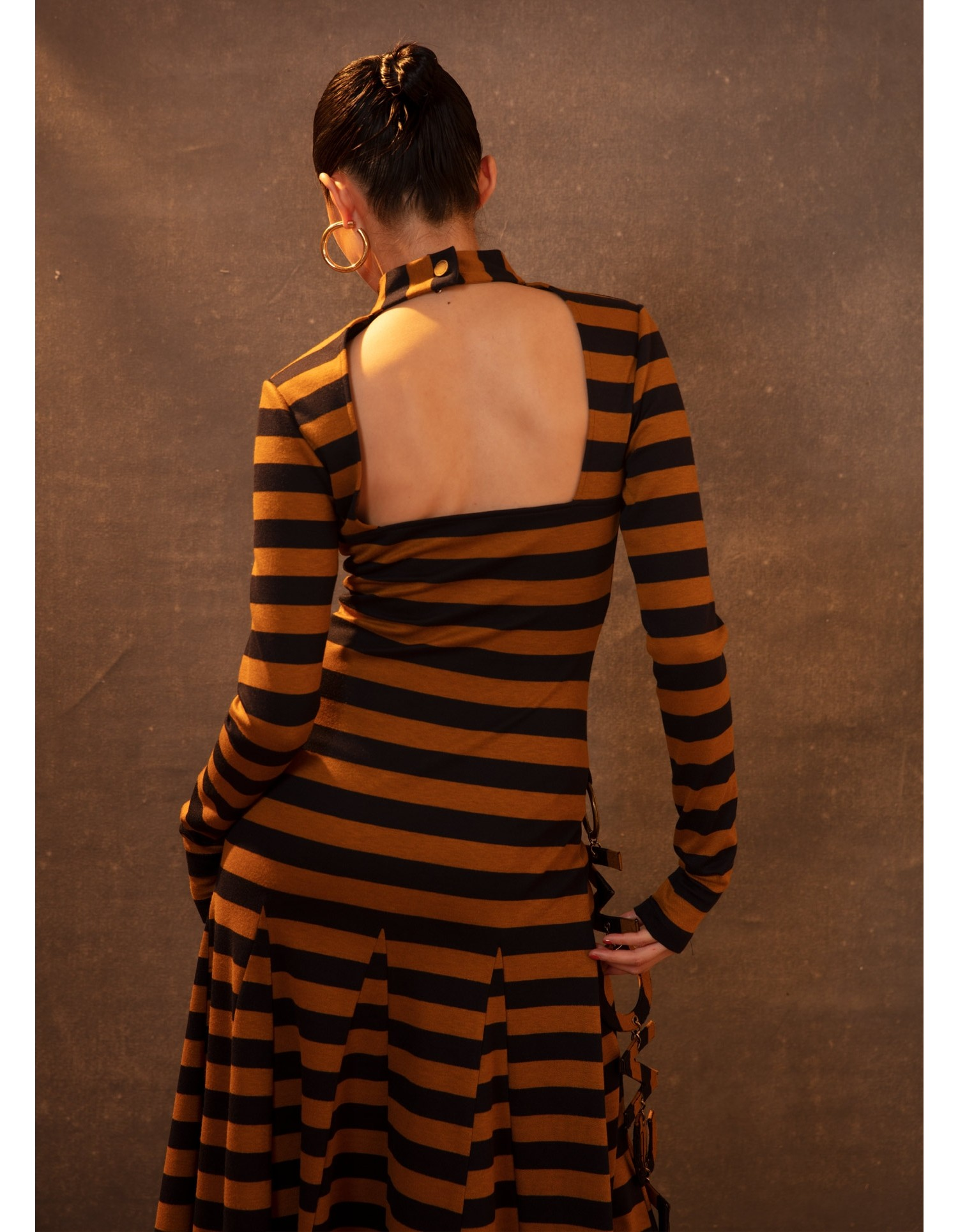 MONSE Stripe Godet Dress in Tan and Midnight on Model Detail View