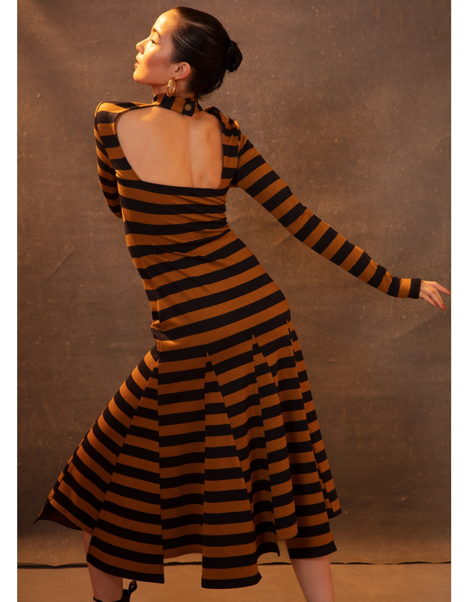 MONSE Stripe Godet Dress in Tan and Midnight on Model Back View