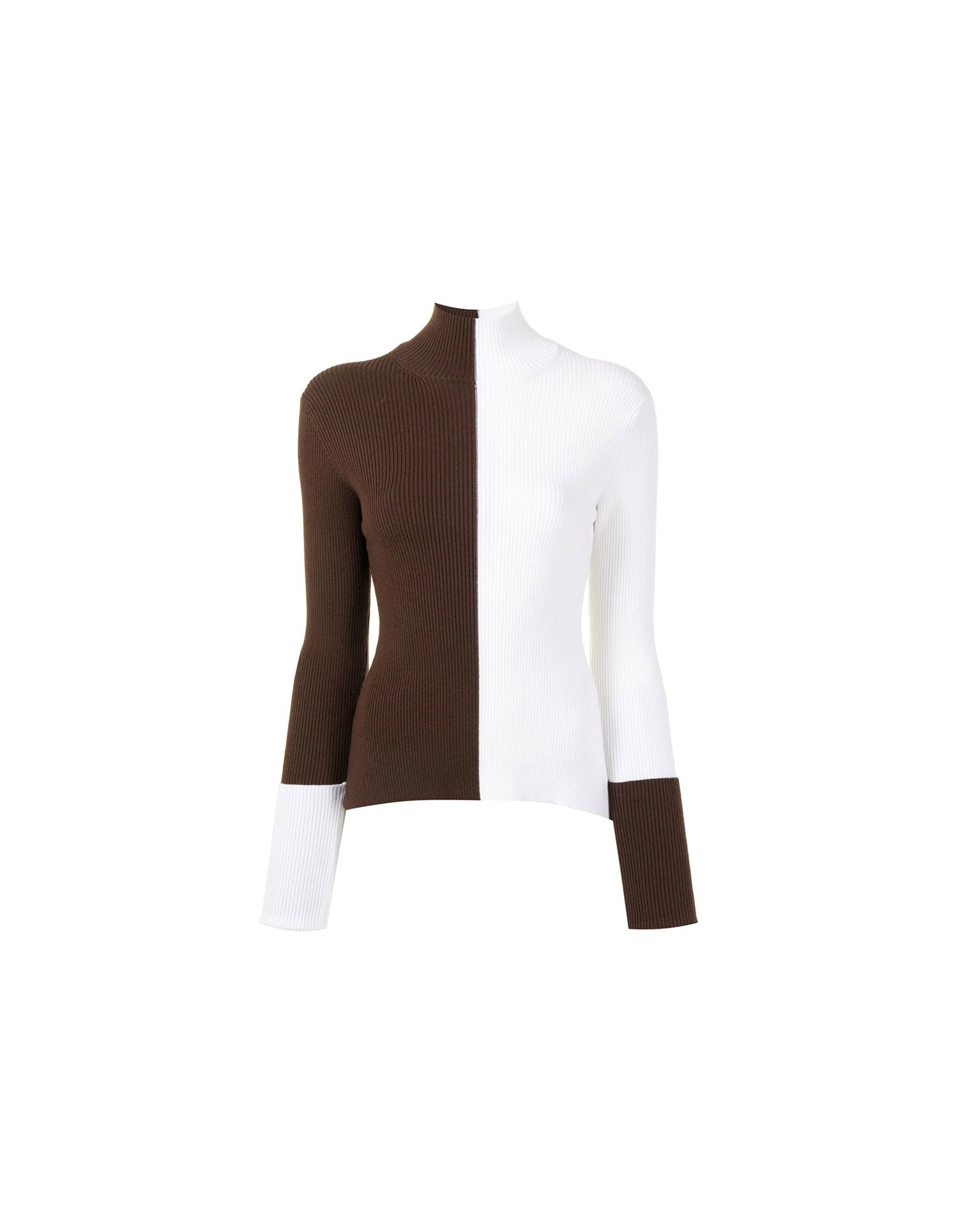 MONSE Ribbed Color Block Turtleneck Knit in Ivory and Chocolate Flat Front