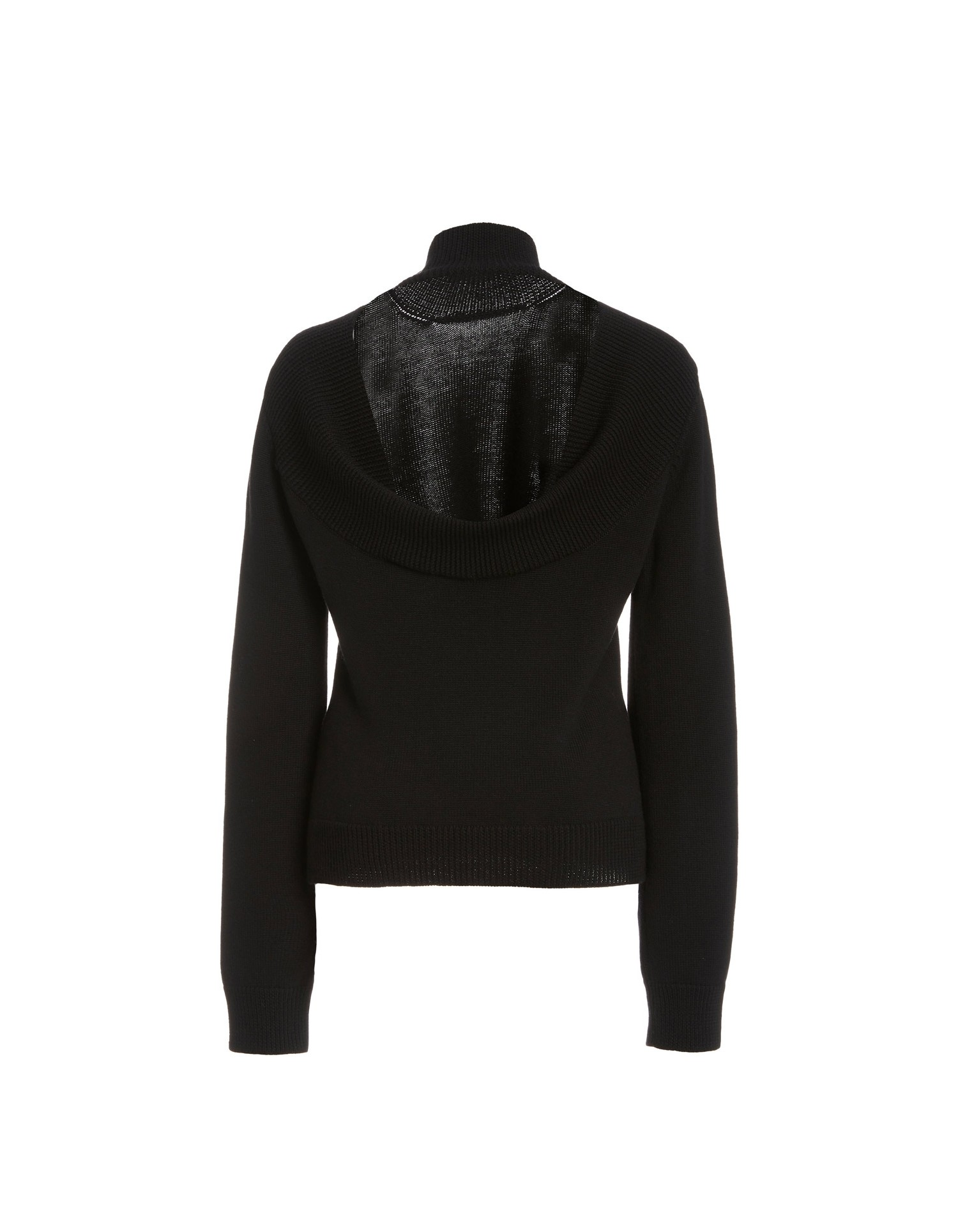 MONSE Ribbed Cowl Back Knit Sweater in Black Flat Back View