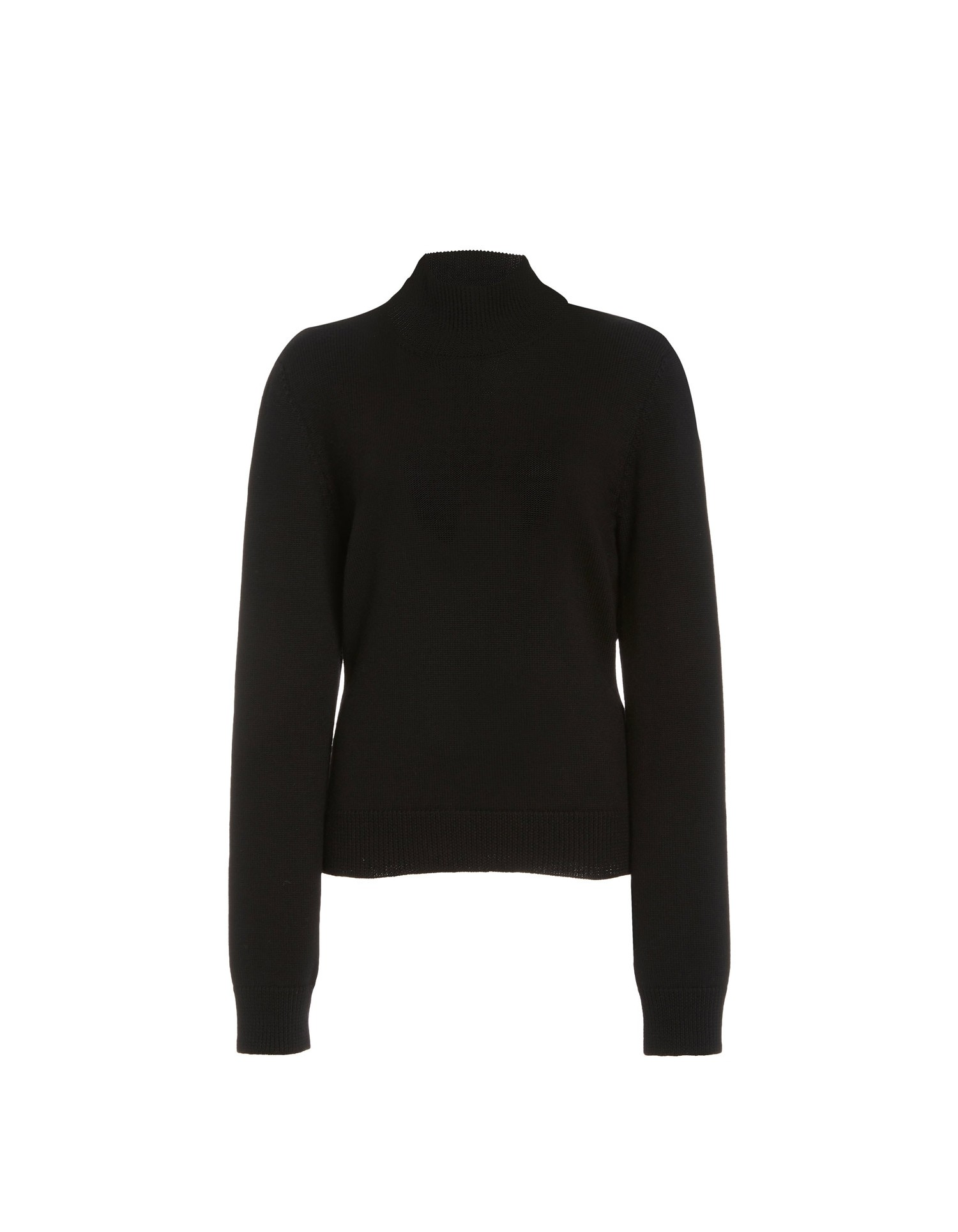 MONSE Ribbed Cowl Back Knit Sweater in Black Flat Front View