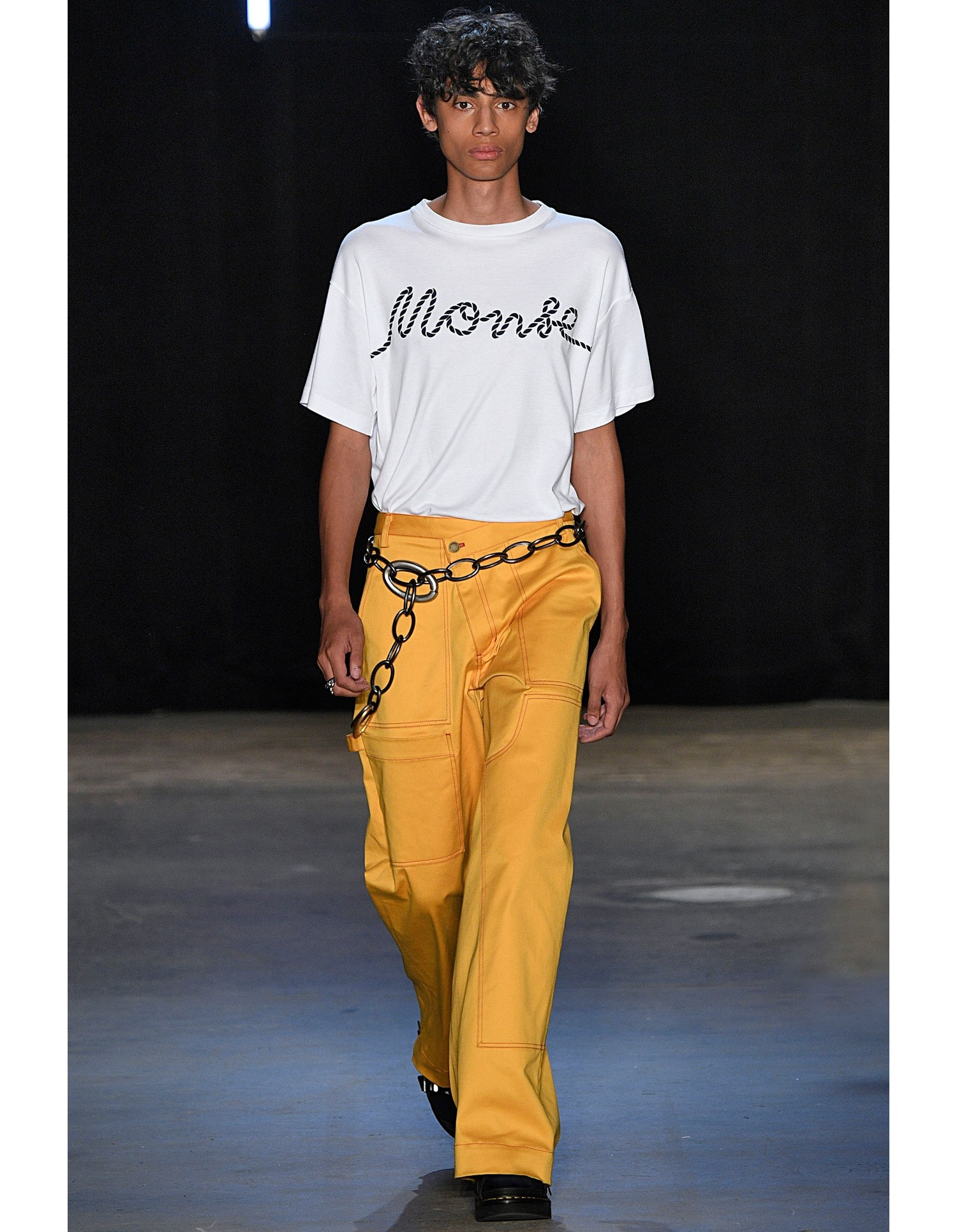 Monse Rope Print Tee in White on Runway Model