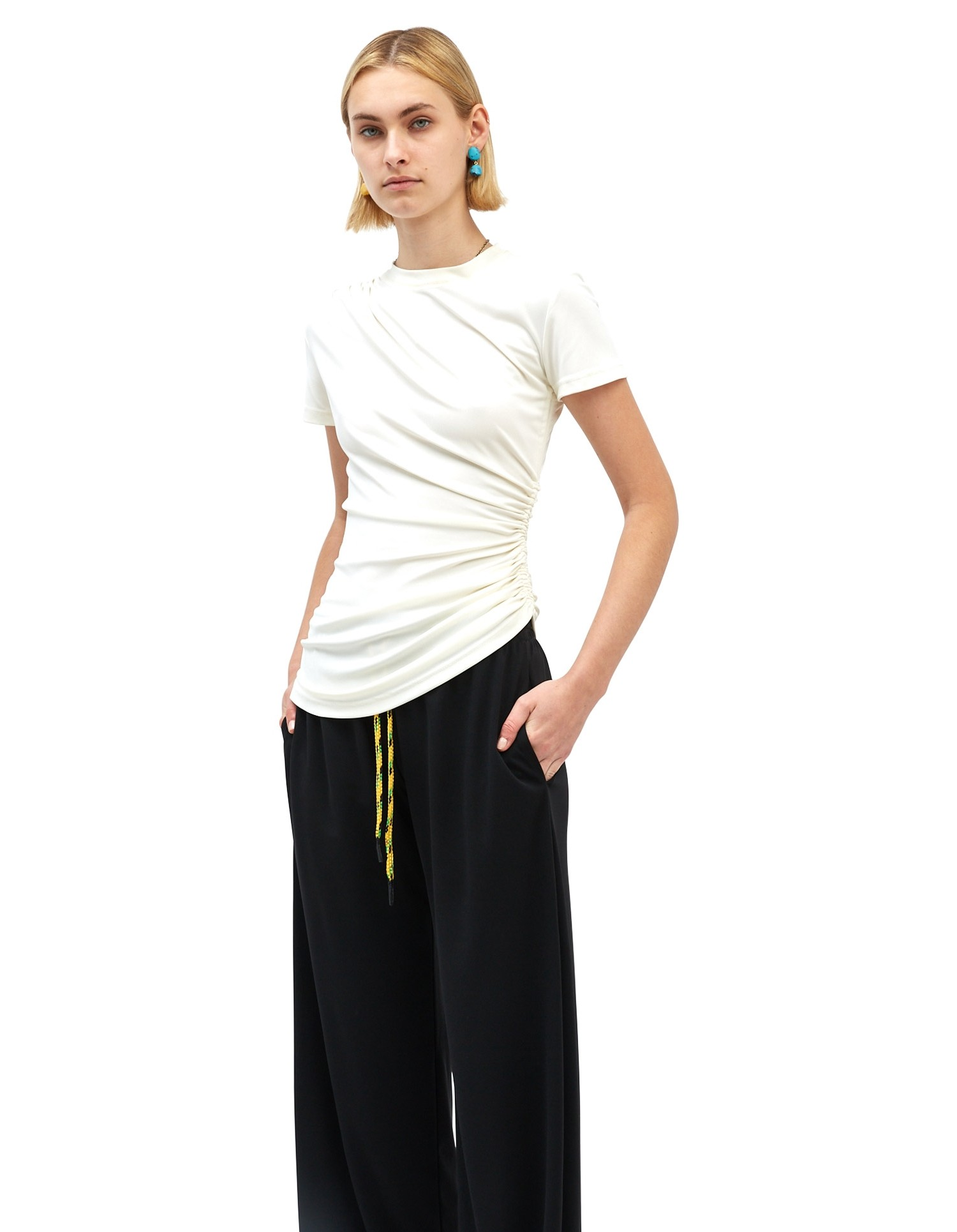 MONSE Ruched Asymmetrical Tee in Ivory on Model Front View