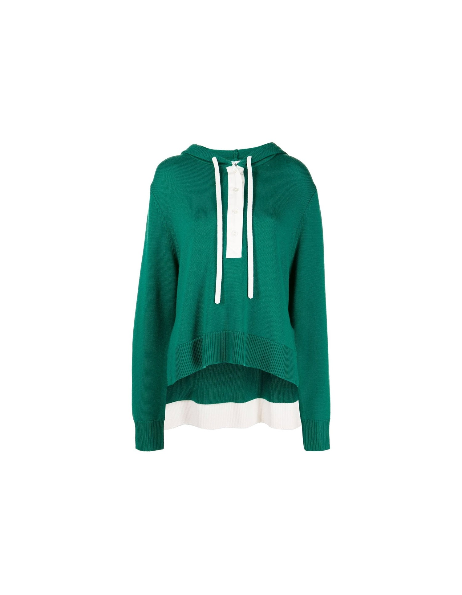 MONSE Rugby Knit Hoodie in Grass and Ivory Flat Front