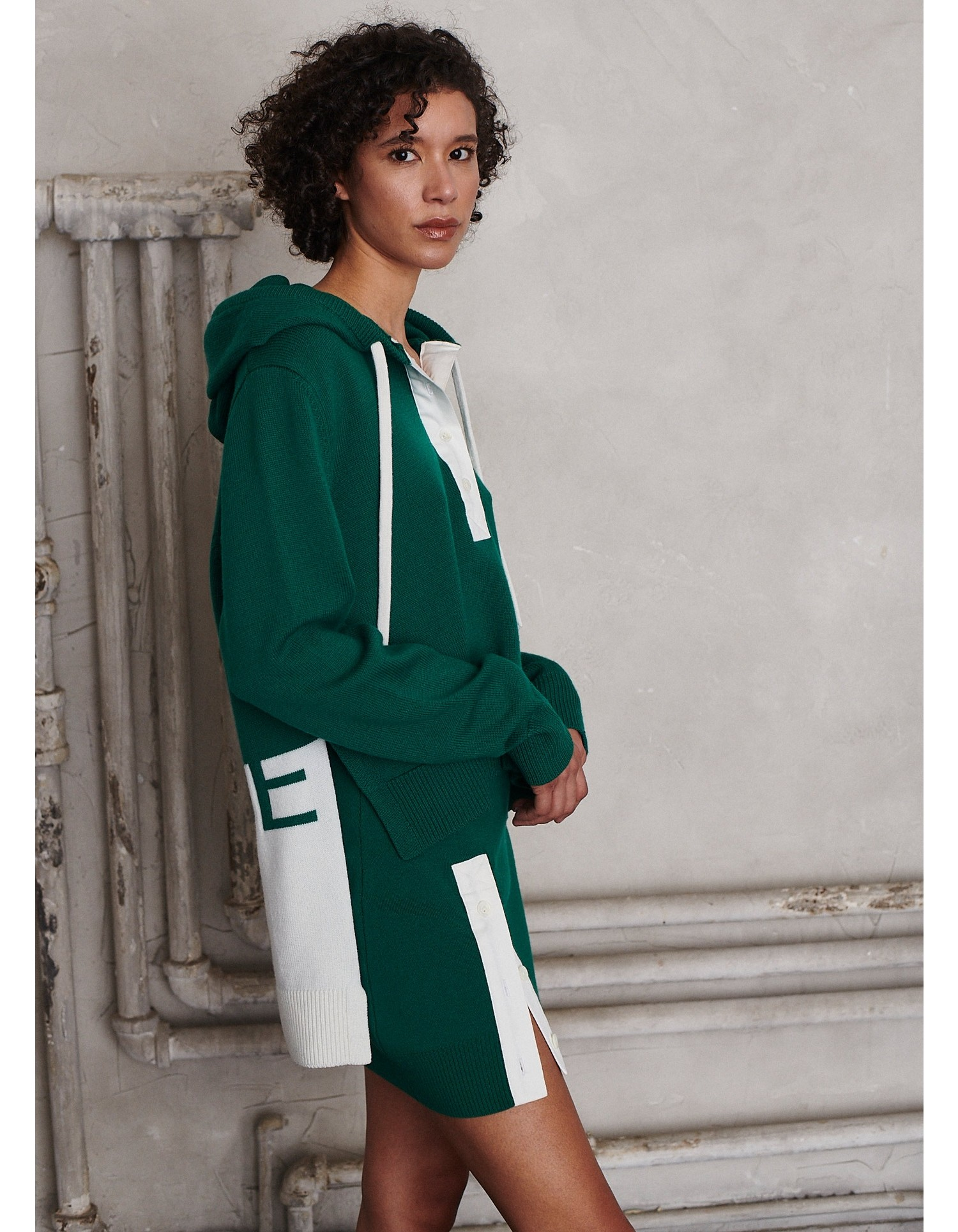 MONSE Rugby Knit Hoodie in Grass and Ivory on Model Side View