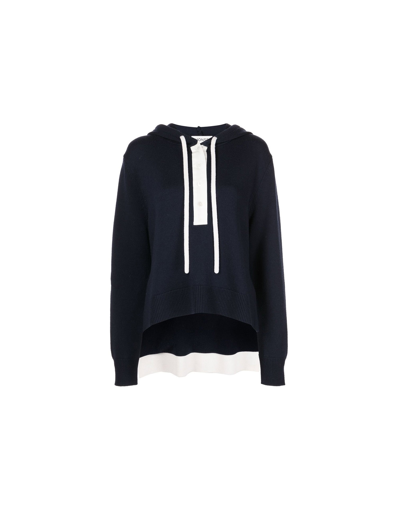 MONSE Rugby Knit Hoodie in Midnight and Ivory Flat Front