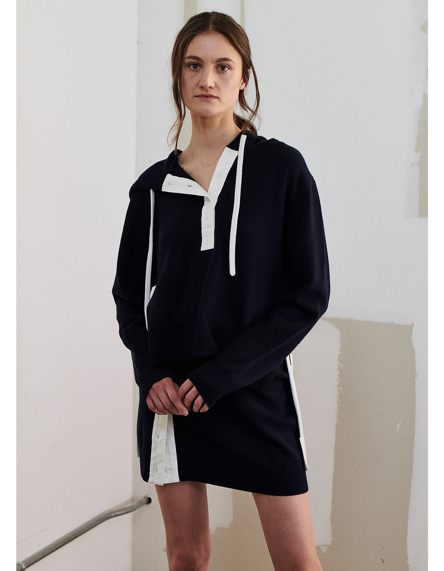 MONSE Rugby Knit Hoodie in Midnight and Ivory on Model Front View