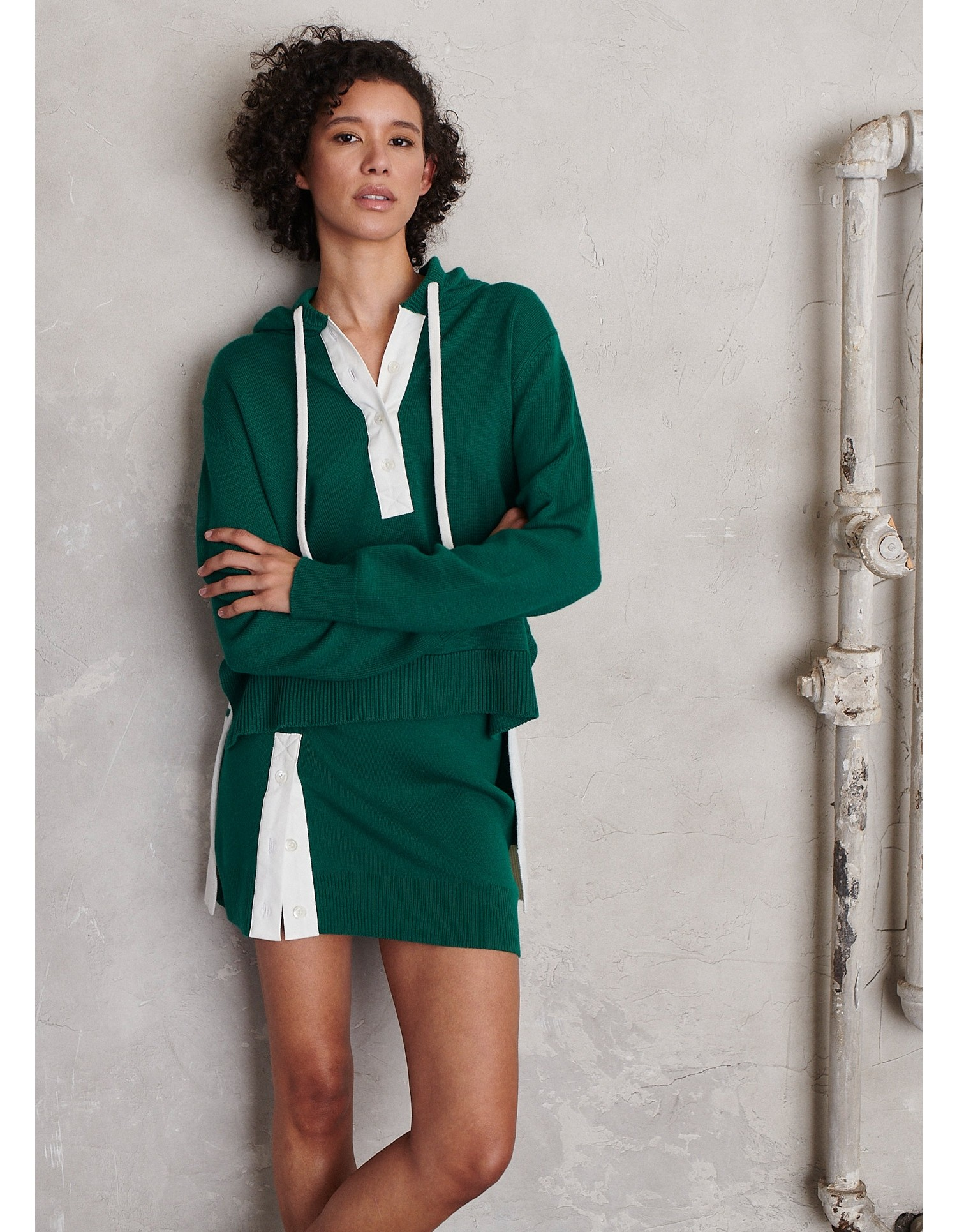 MONSE Rugby Knit Mini Skirt in Grass and Ivory on Model Front View