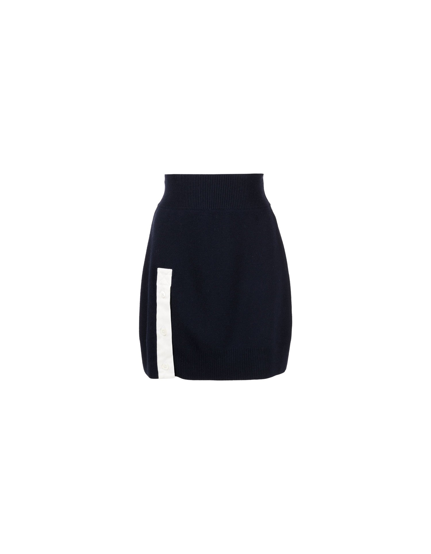MONSE Rugby Knit Mini Skirt in Midnight and Ivory Flat Front