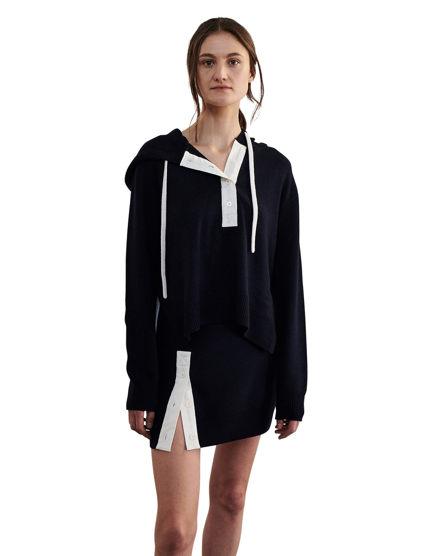 MONSE Rugby Knit Mini Skirt in Midnight and Ivory on Model Front View