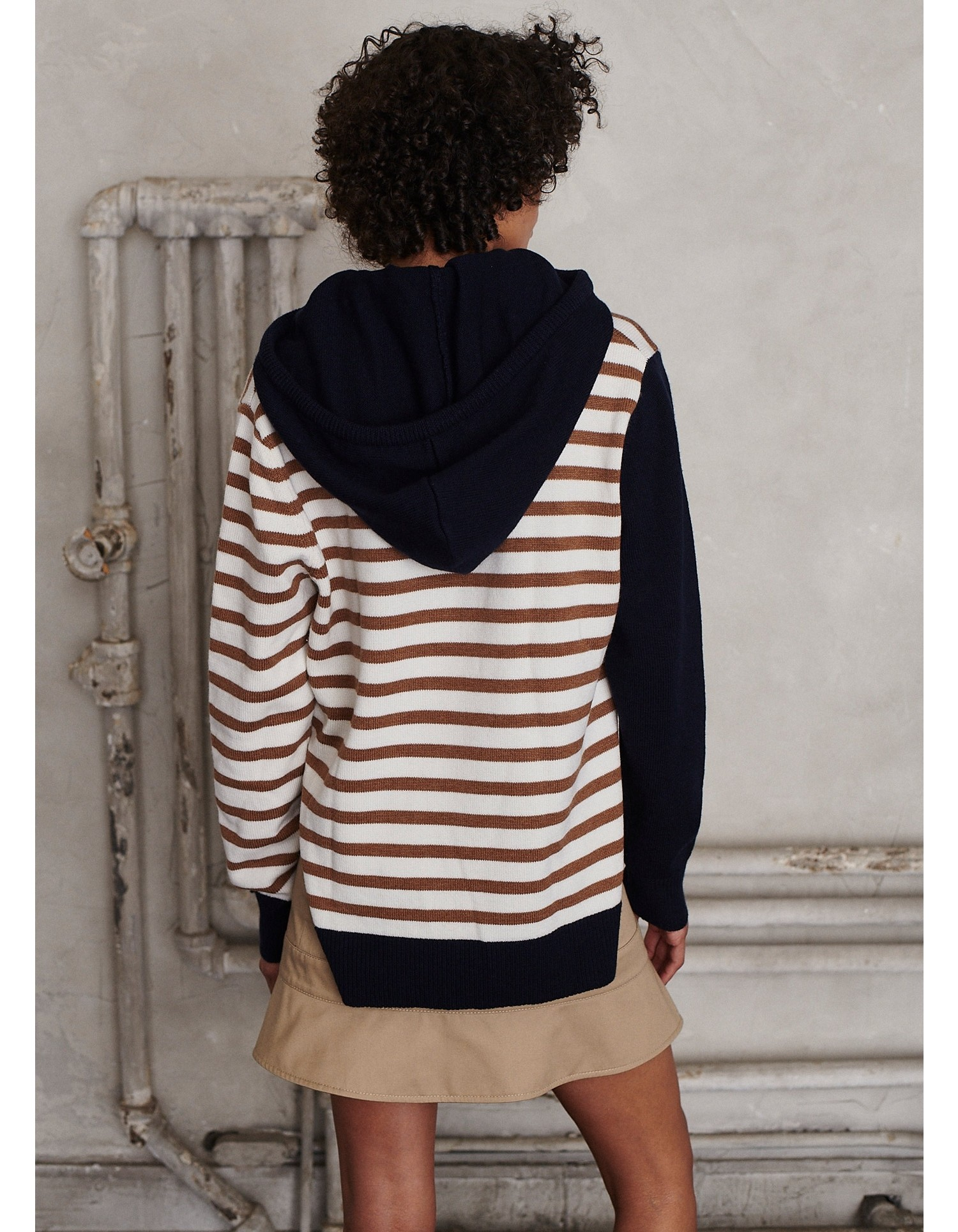 MONSE Rugby Striped Knit Hoodie on Model Back View