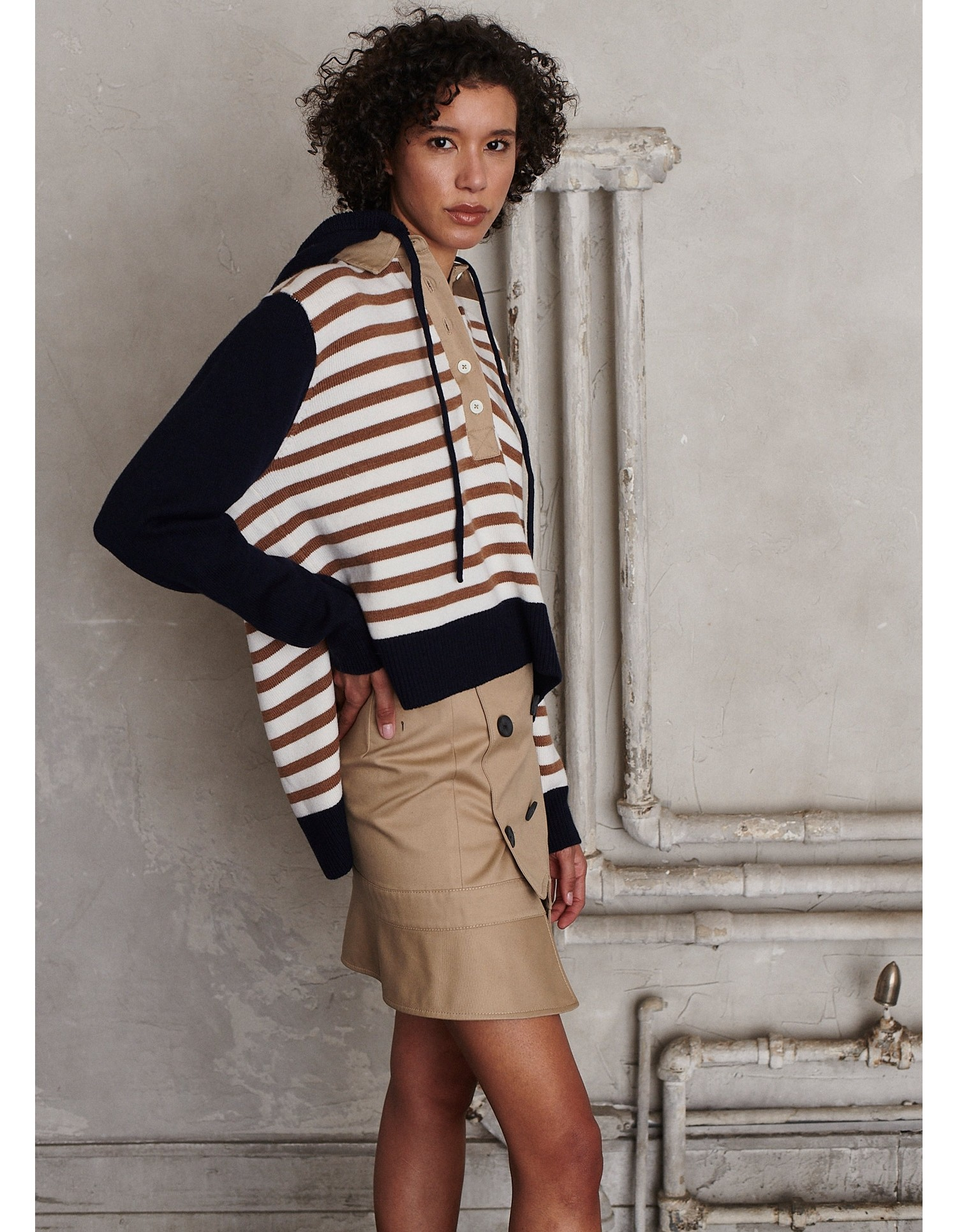 MONSE Rugby Striped Knit Hoodie on Model Side View