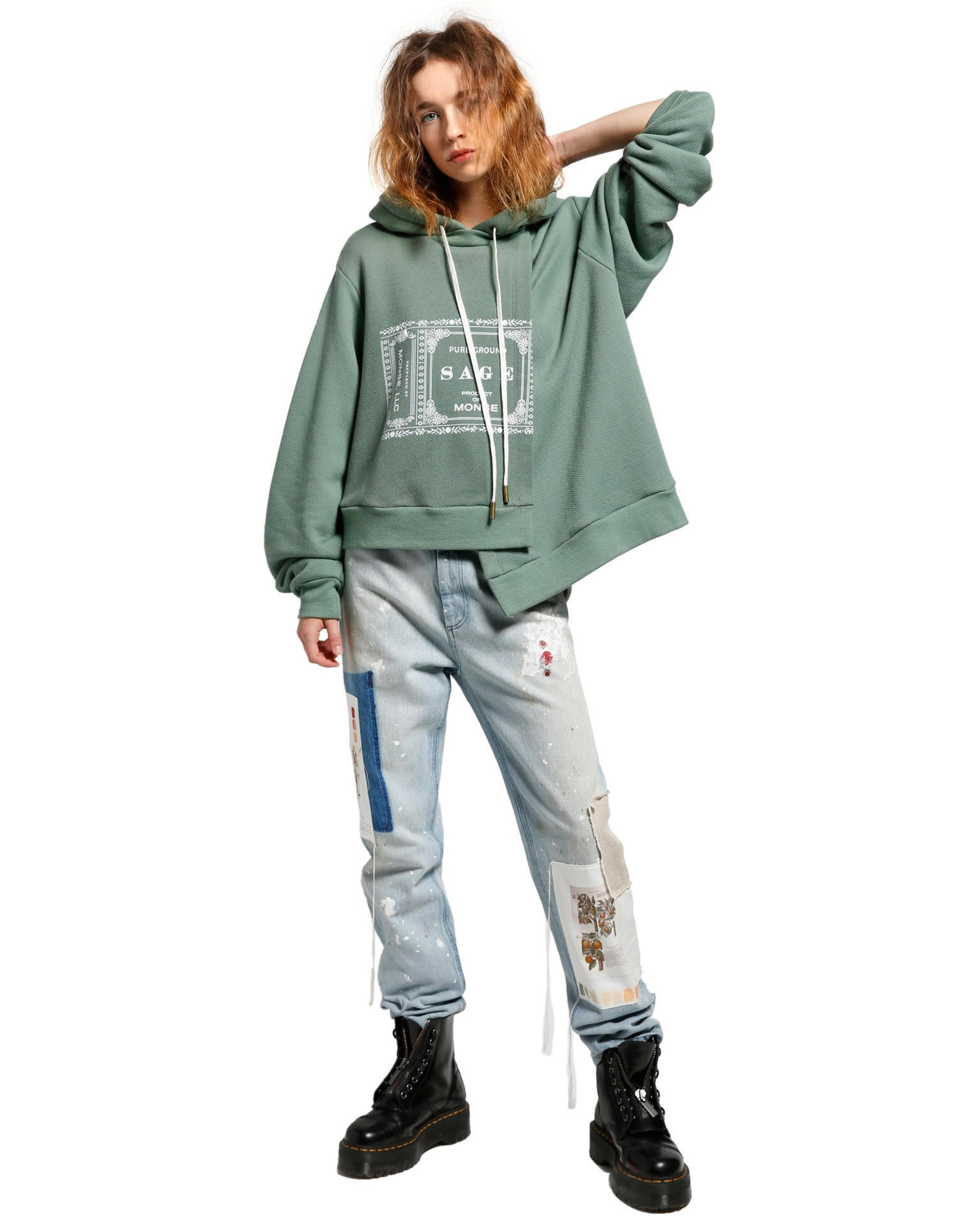 MONSE Sage Double Layer Hoodie on Model Front View