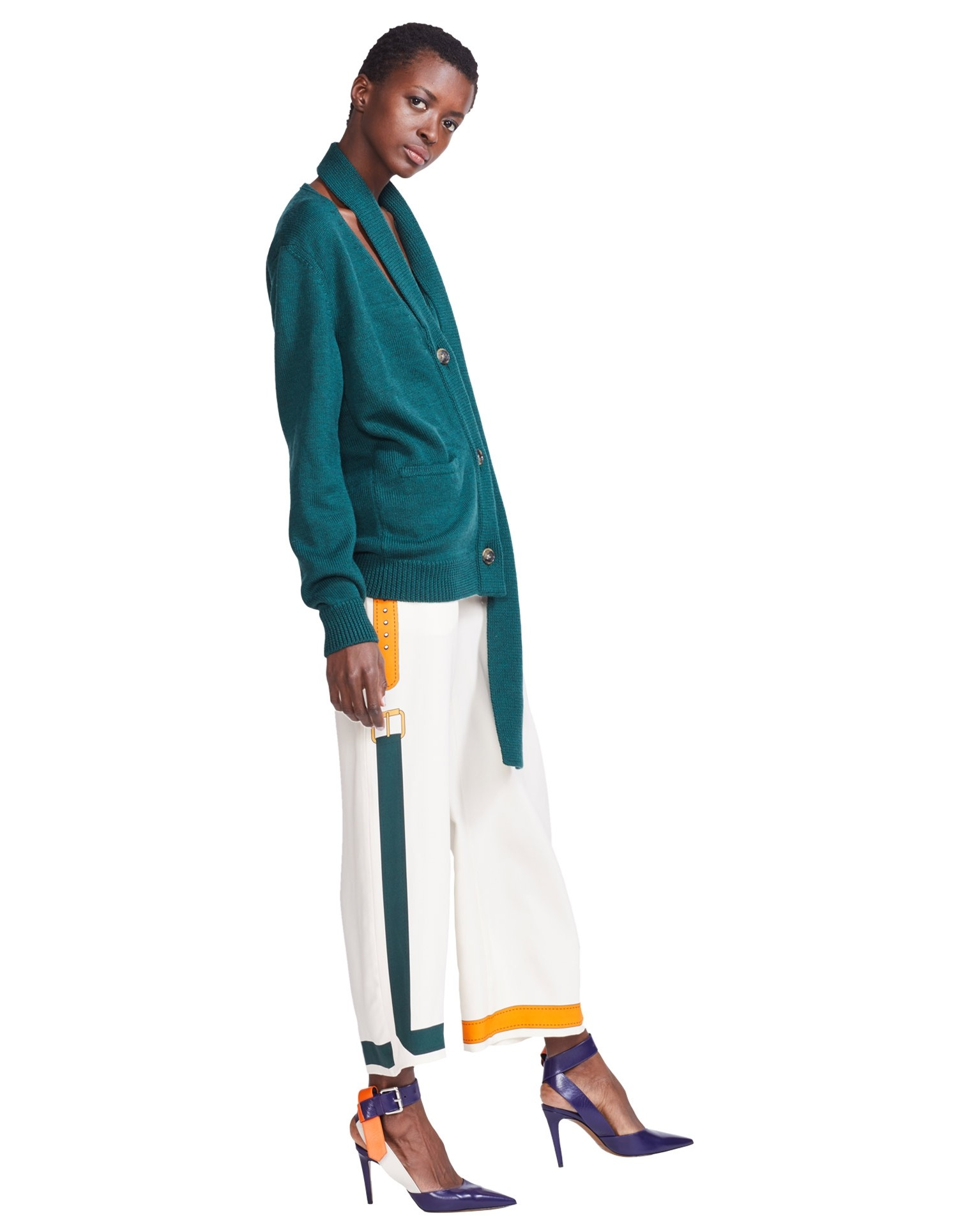 MONSE Scarf Placket Cardigan in Evergreen on Model Side View