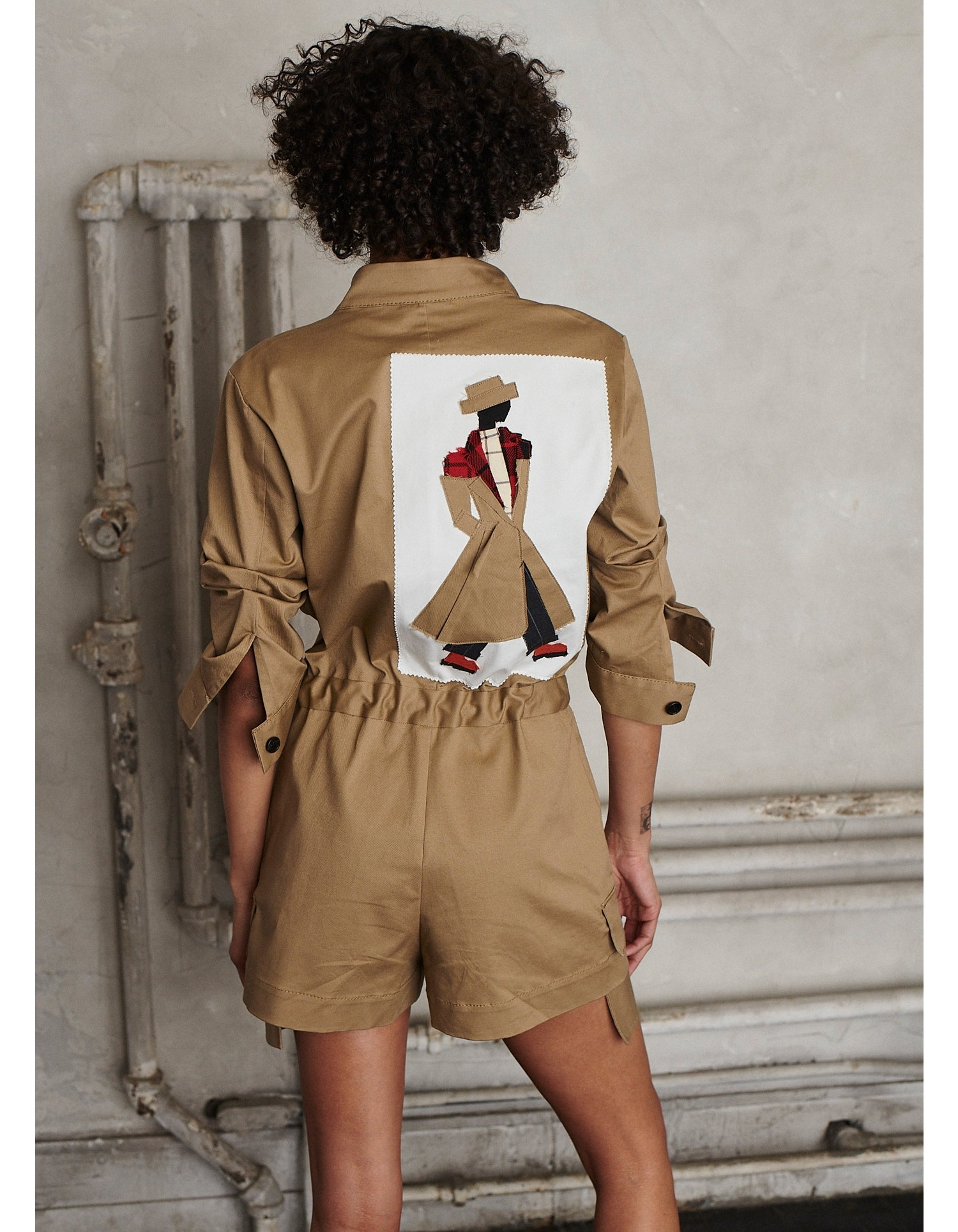 MONSE Scrapbook Patched Scrunch Sleeve Romper on Model Back View