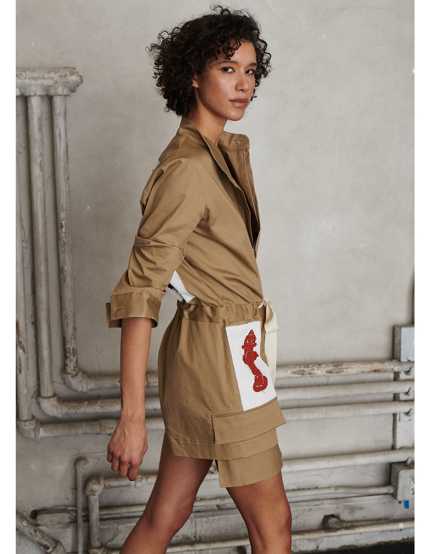 MONSE Scrapbook Patched Scrunch Sleeve Romper on Model Side View