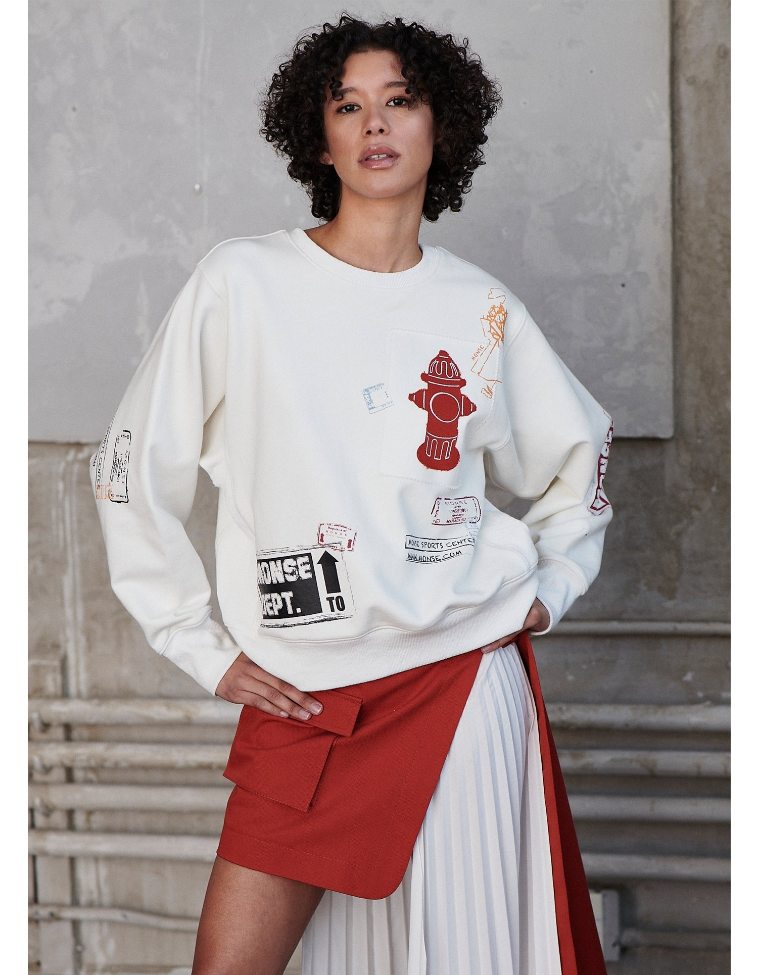 MONSE Scrapbook Pullover Sweatshirt in Ivory on Model Front Detail View